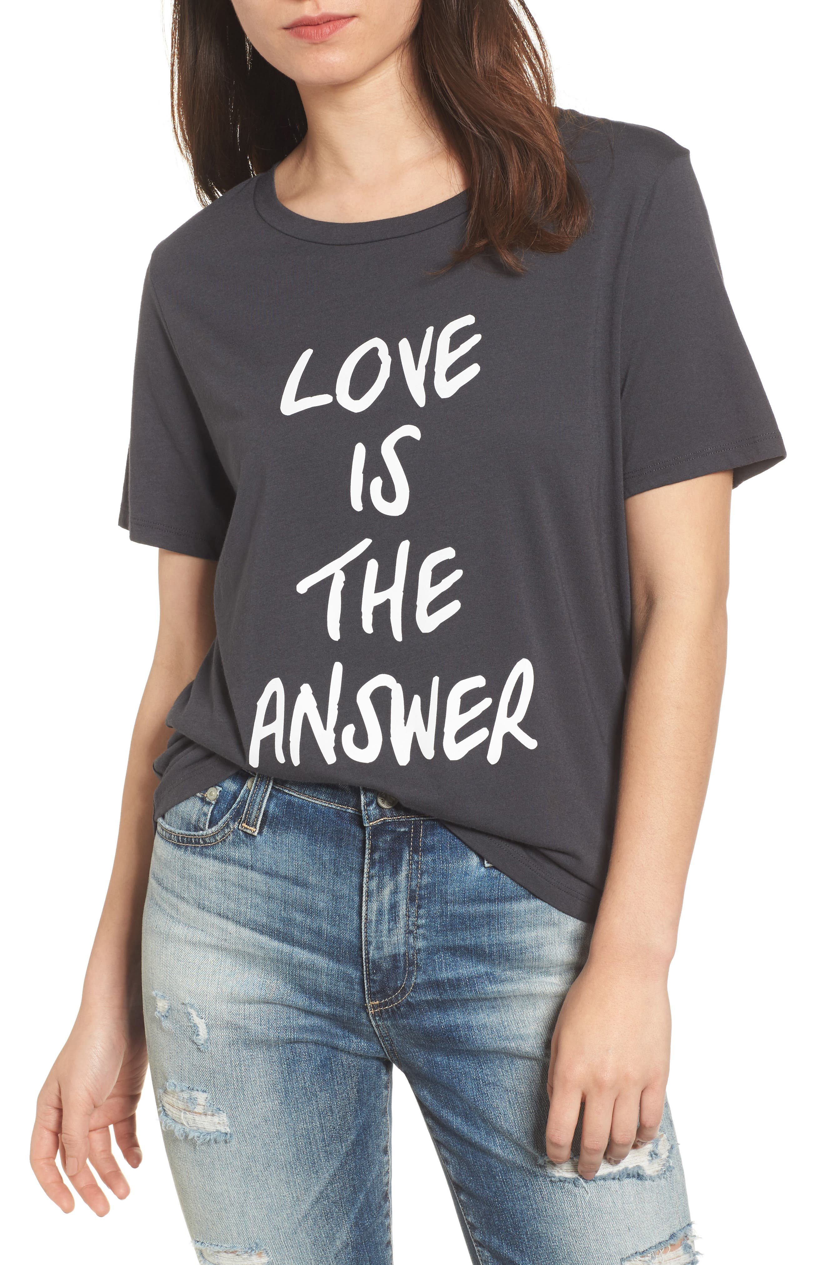 Love is the Answer Tee,                         Main,                         color, Black