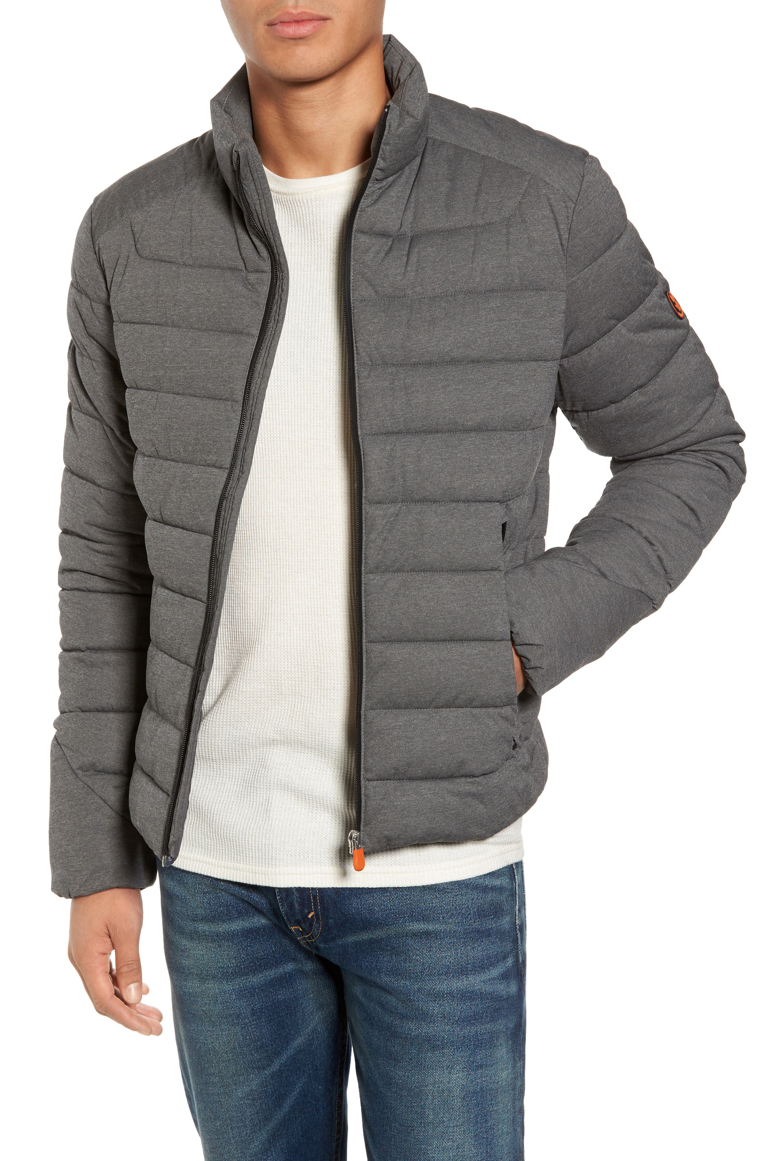 Water Resistant Puffer Jacket,                             Main thumbnail 1, color,                             Opal Grey Melange
