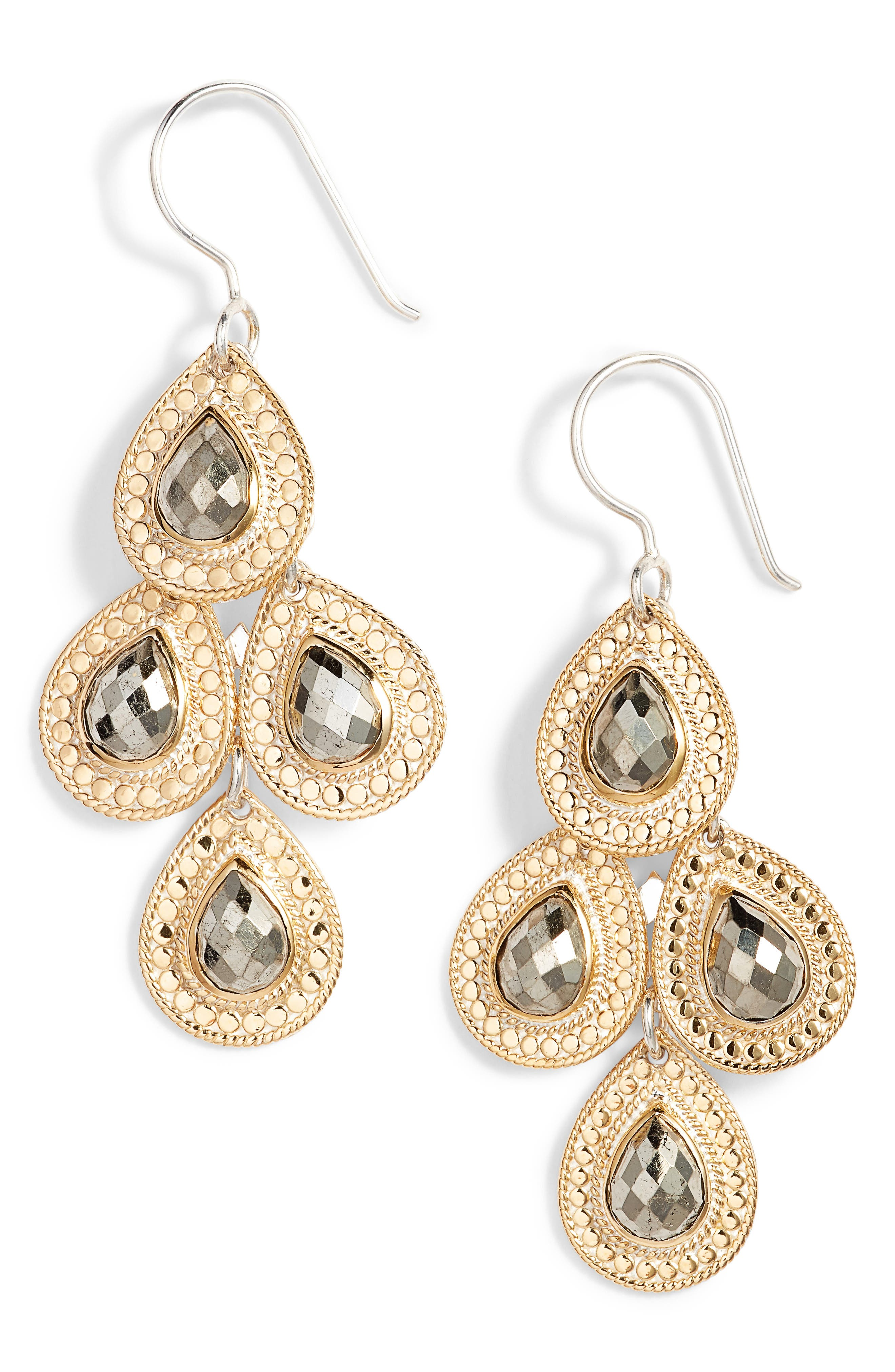 Stone Chandelier Earrings,                             Main thumbnail 1, color,                             Gold/ Silver/ Pyrite