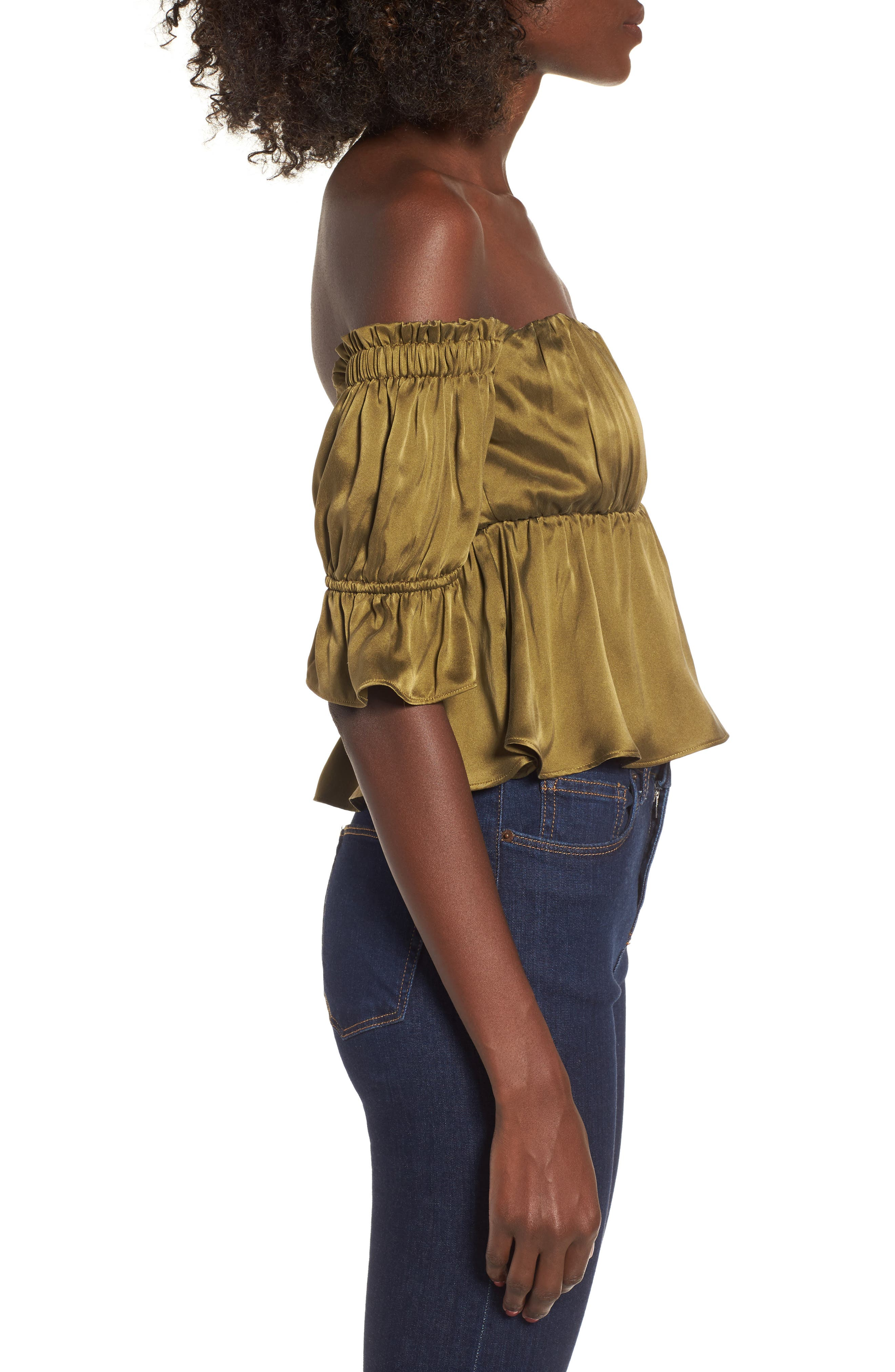 Monte Off the Shoulder Silk Top,                             Alternate thumbnail 3, color,                             Army Green