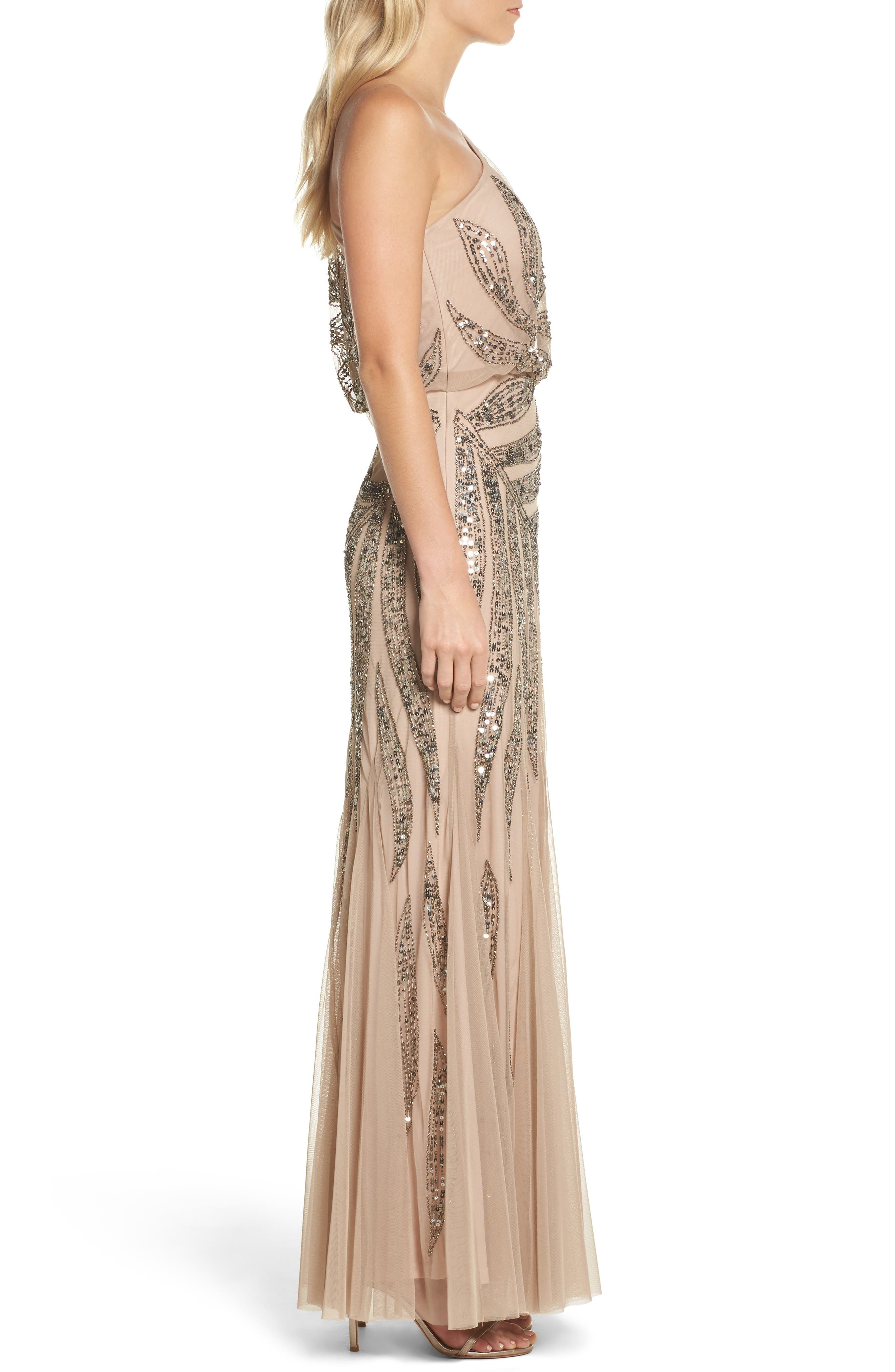 Beaded One-Shoulder Blouson Mesh Gown,                             Alternate thumbnail 3, color,                             Taupe/ Pink