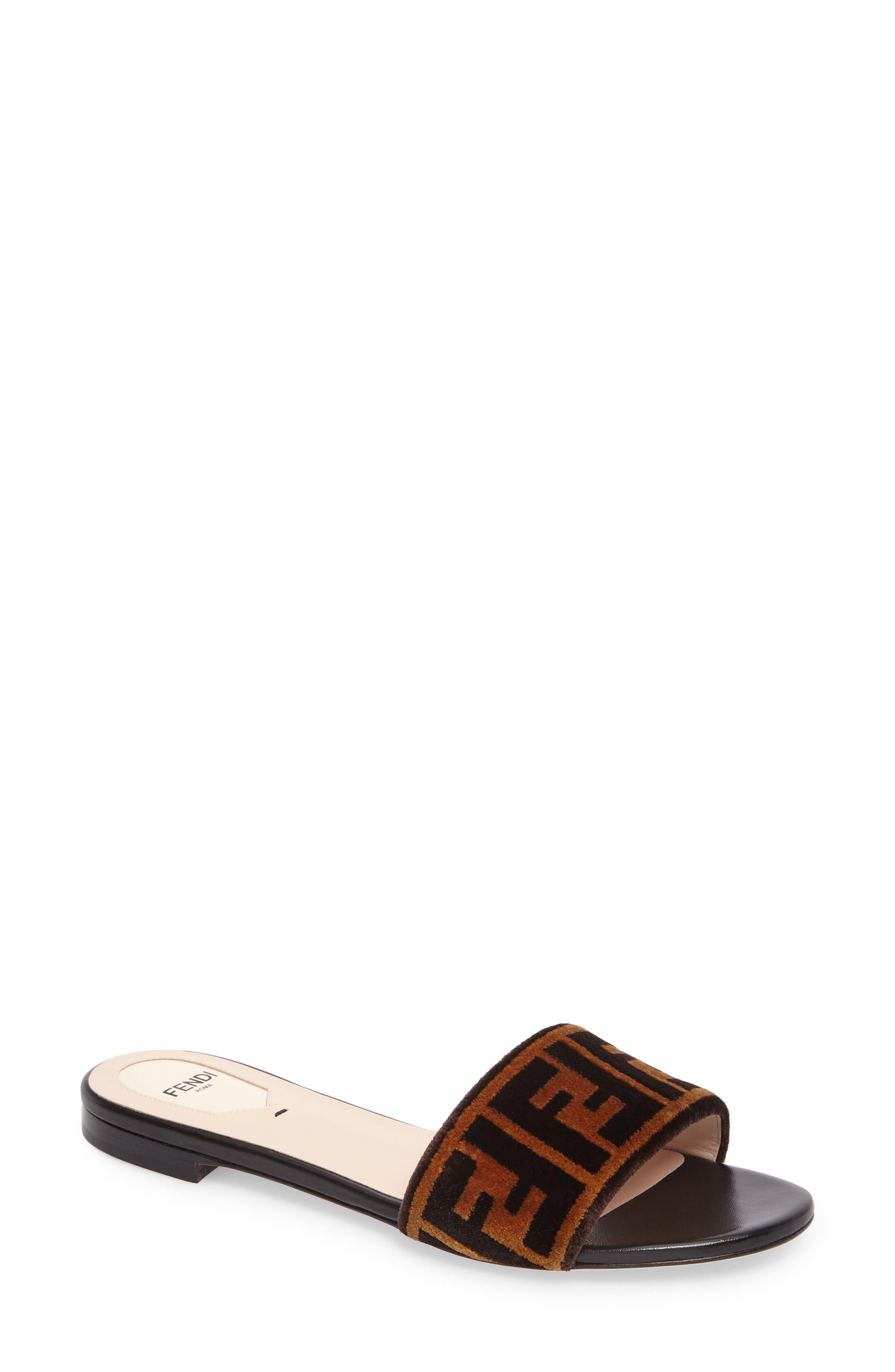 Logo Slide Sandal,                         Main,                         color, Tobacco