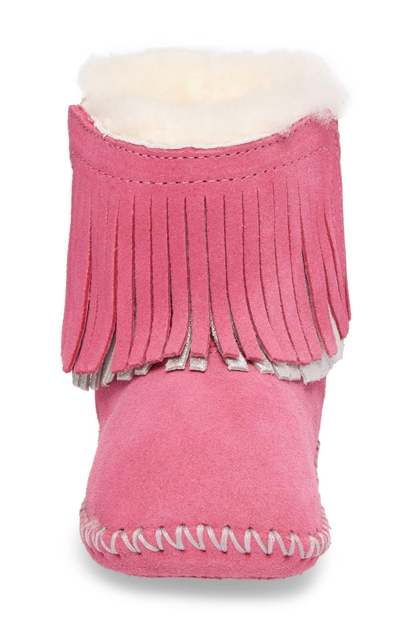 Branyon Fringe Genuine Shearling Bootie,                             Alternate thumbnail 4, color,                             Pink Azalea