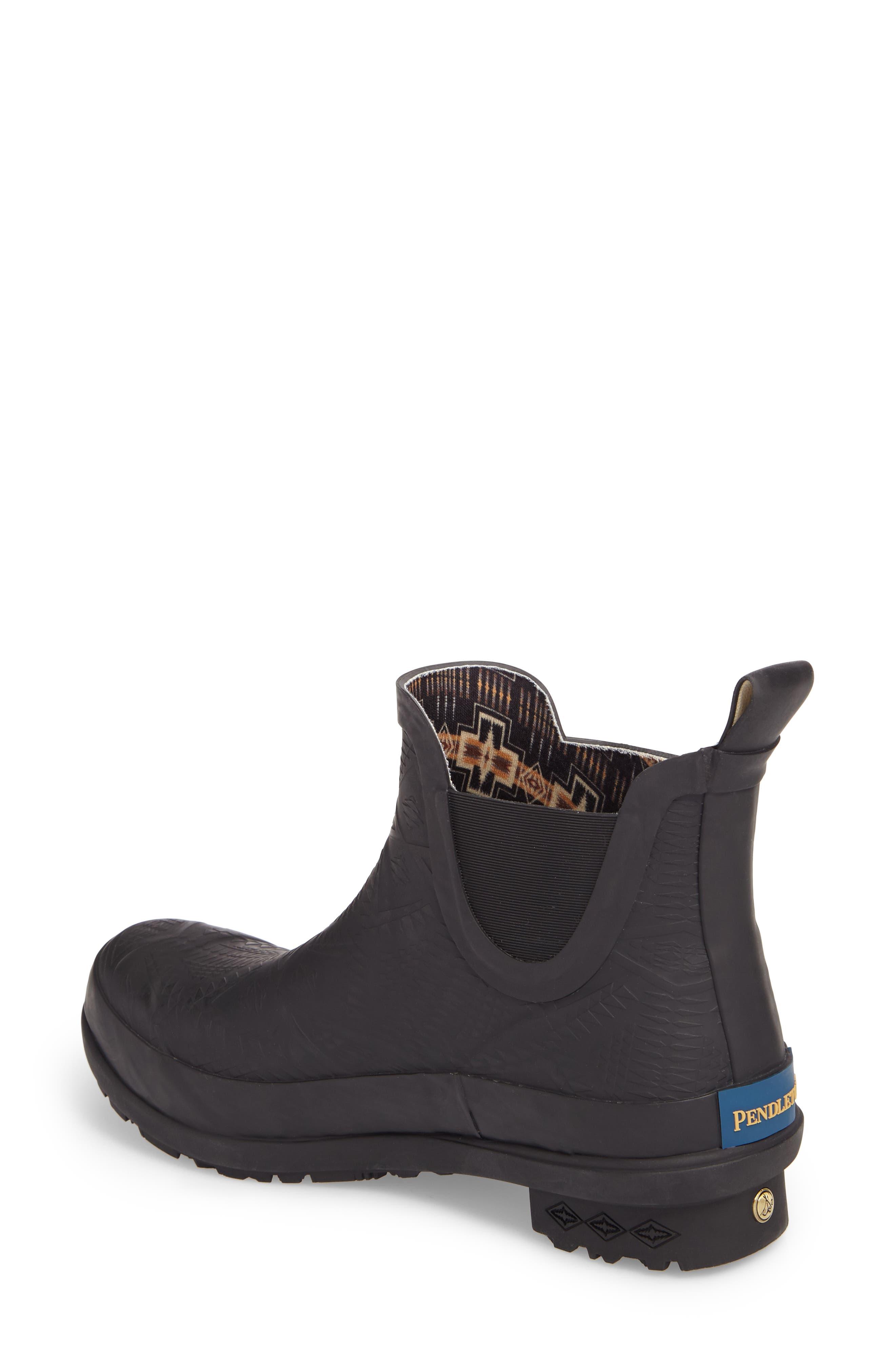 Pendleton Embossed Chelsea Rain Boot,                             Alternate thumbnail 2, color,                             Black