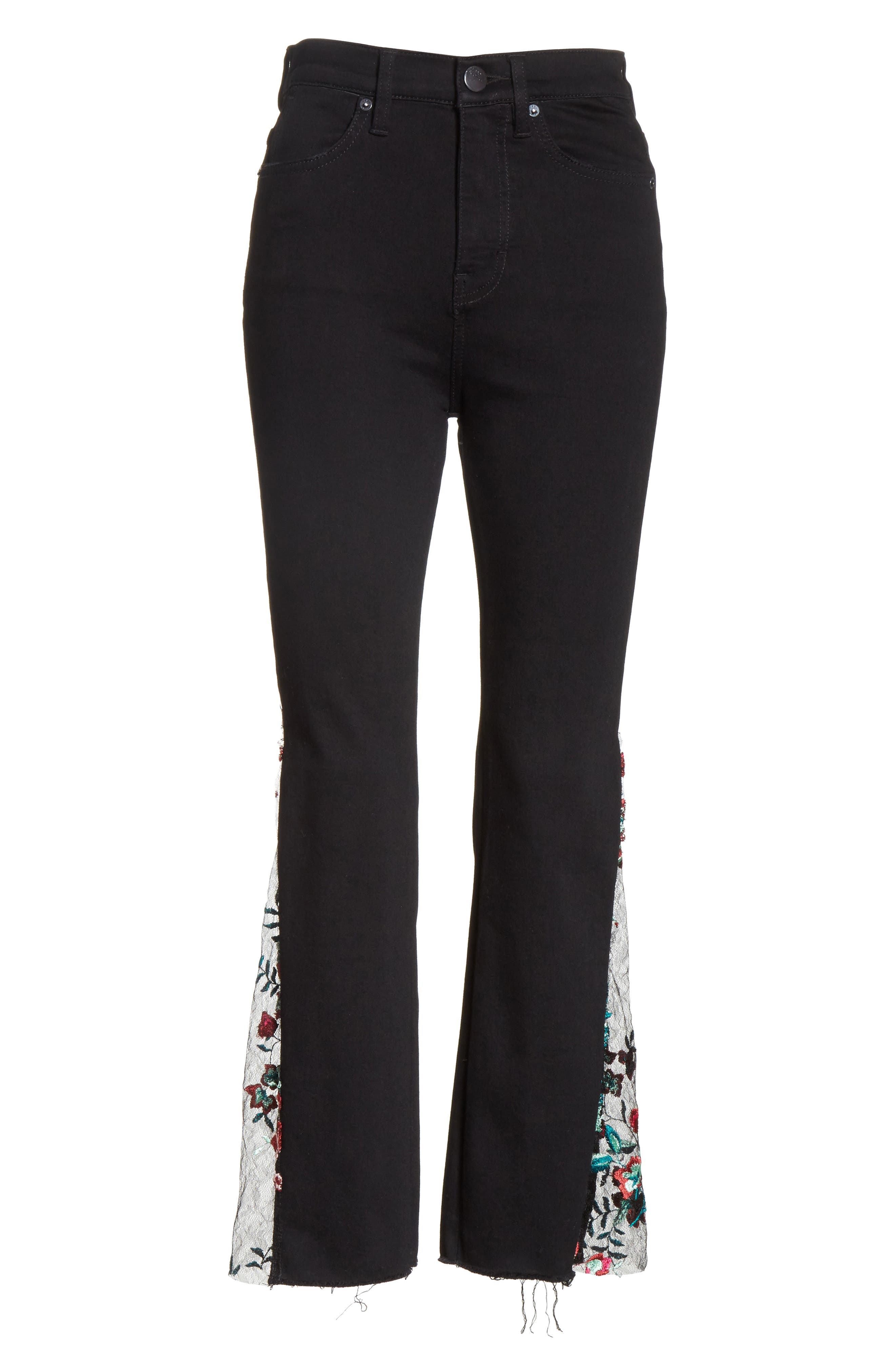 Embroidered Lace Flare Jeans,                             Alternate thumbnail 6, color,                             Black