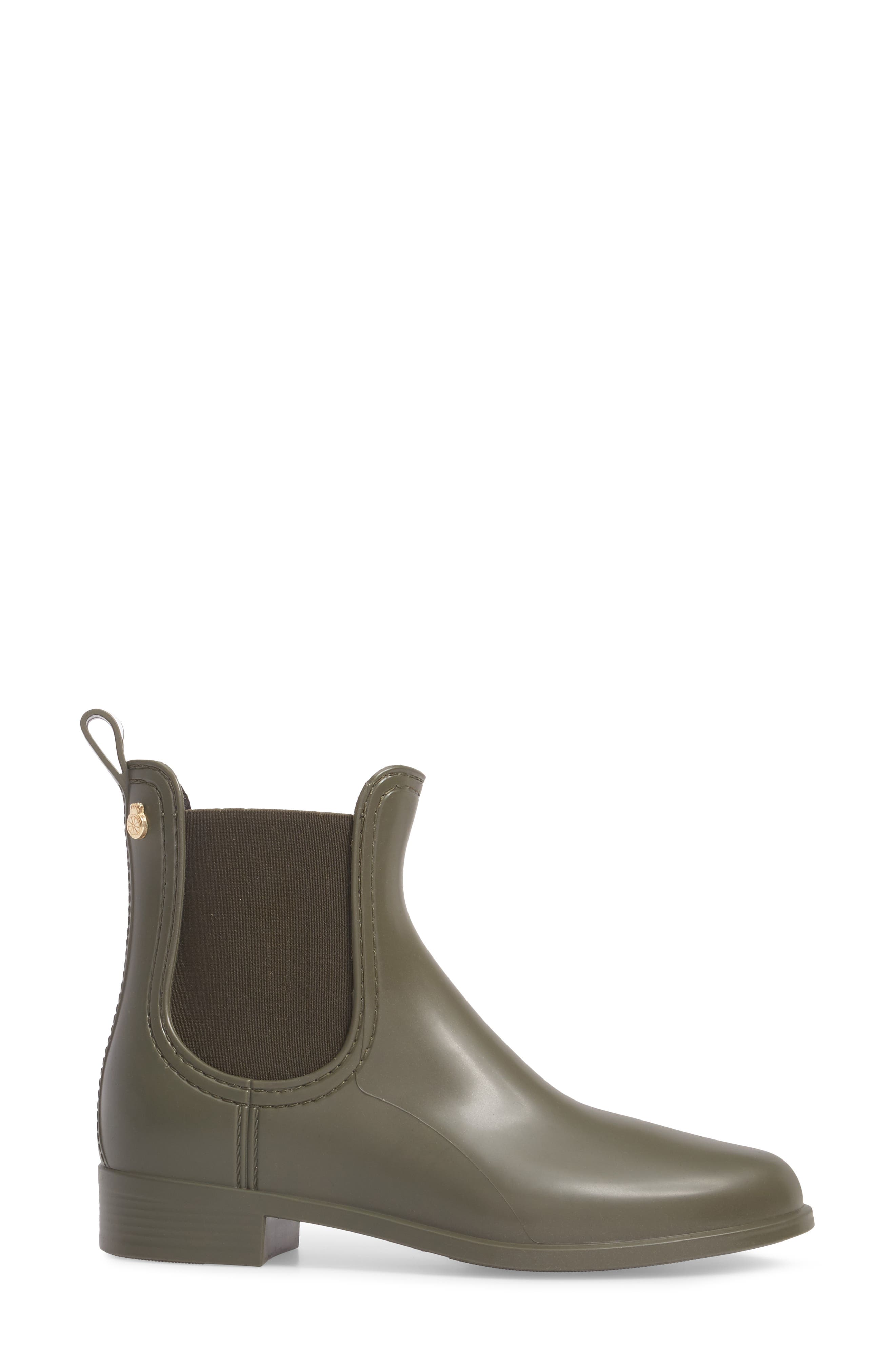Splash Waterproof Chelsea Boot,                             Alternate thumbnail 3, color,                             Metal Green Matte