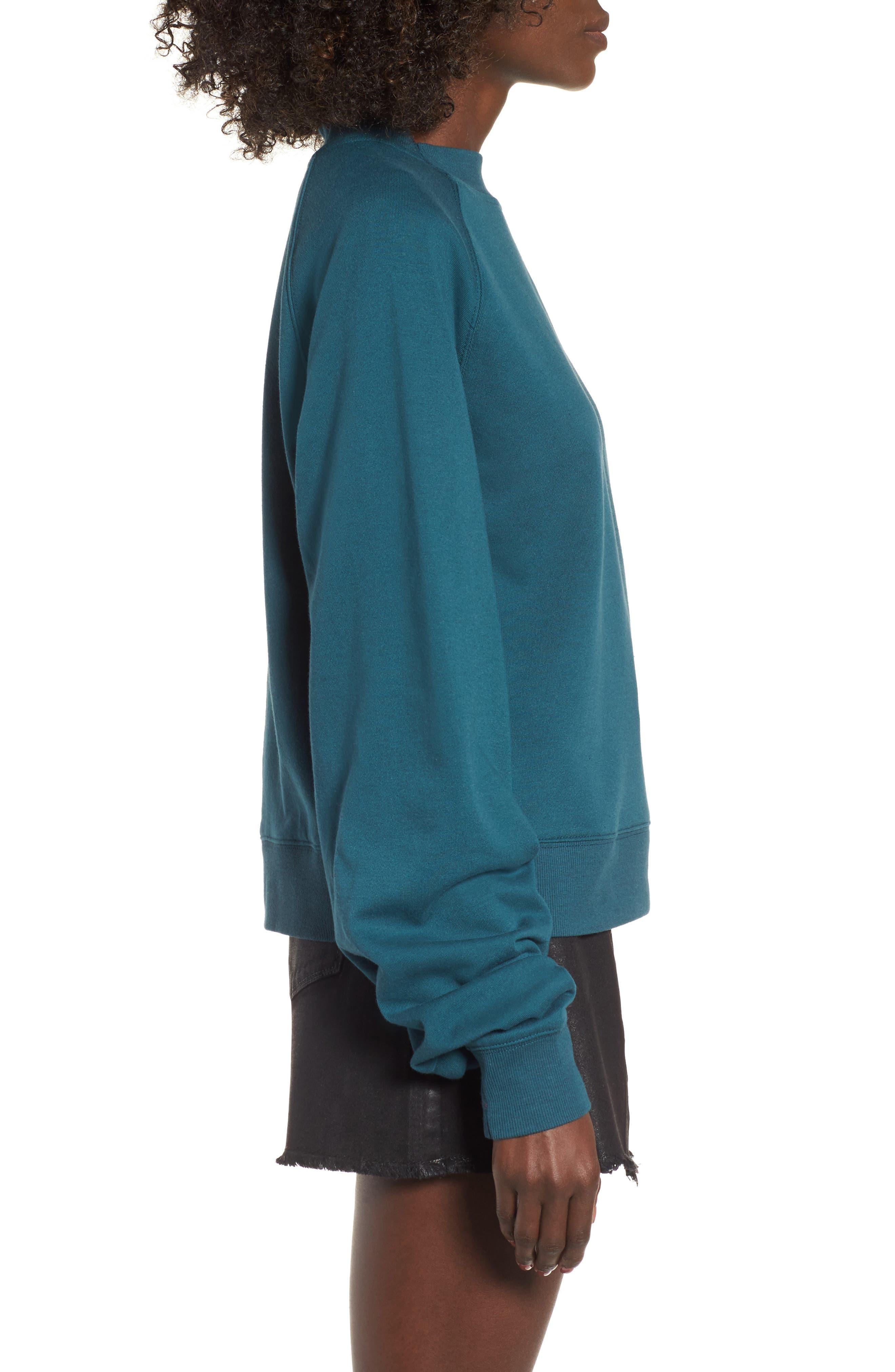 Cinched Sleeve Sweatshirt,                             Alternate thumbnail 3, color,                             Teal