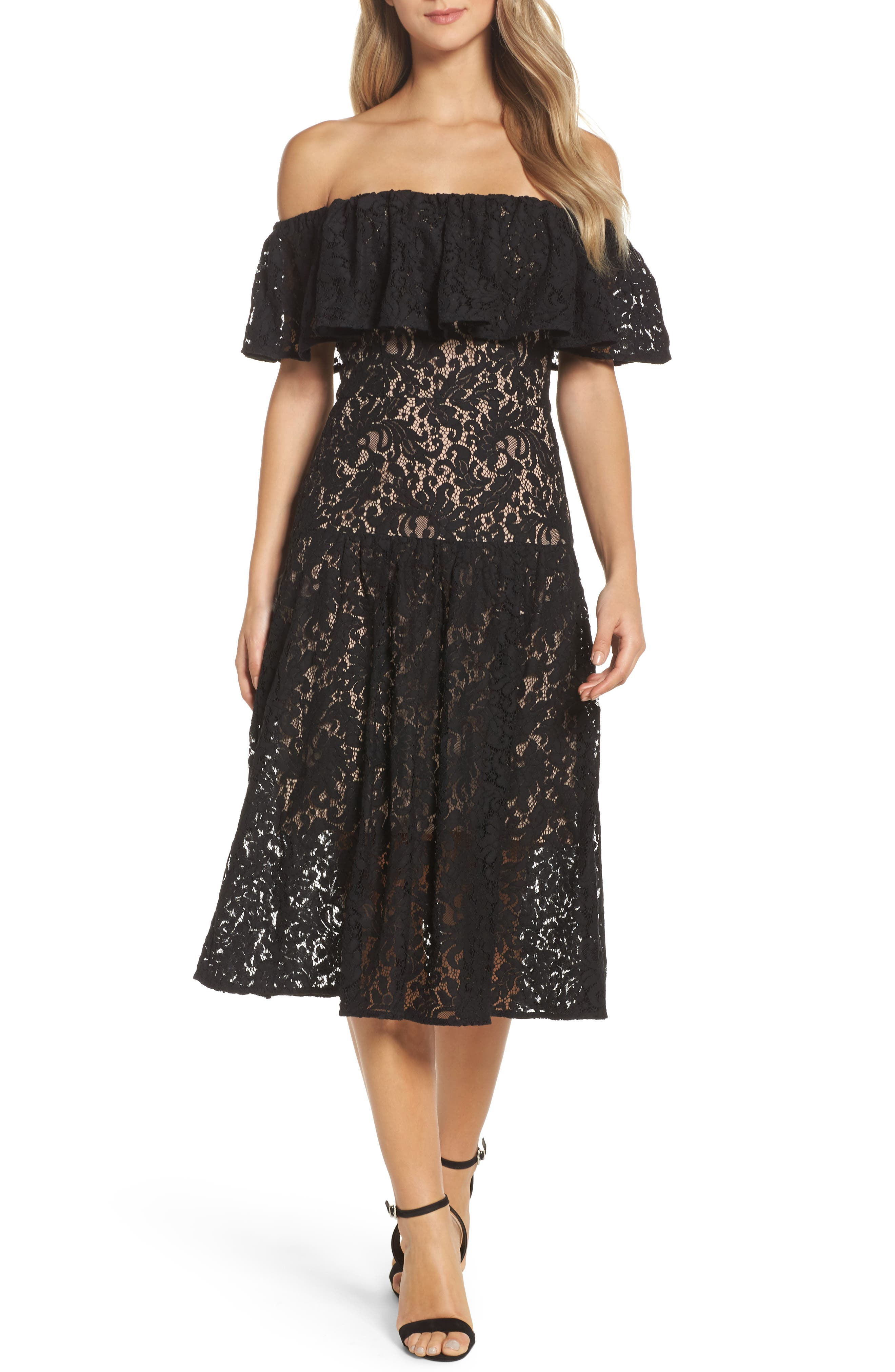 Sunday Silence Lace Off the Shoulder Dress,                             Main thumbnail 1, color,                             Black