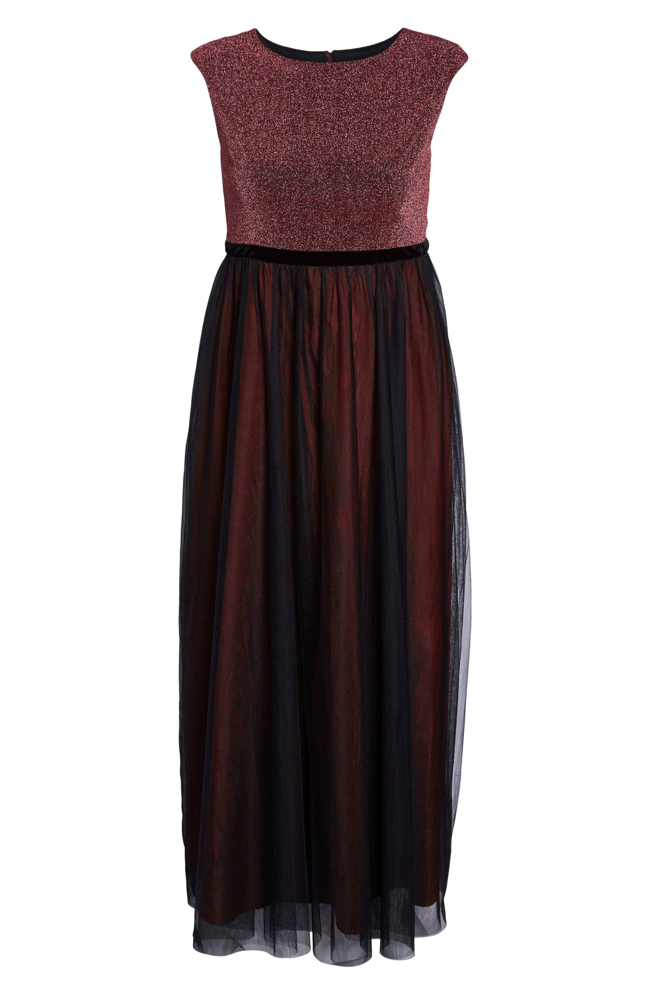 Metallic Knit & Tulle A-Line Gown,                             Alternate thumbnail 6, color,                             Black/ Berry