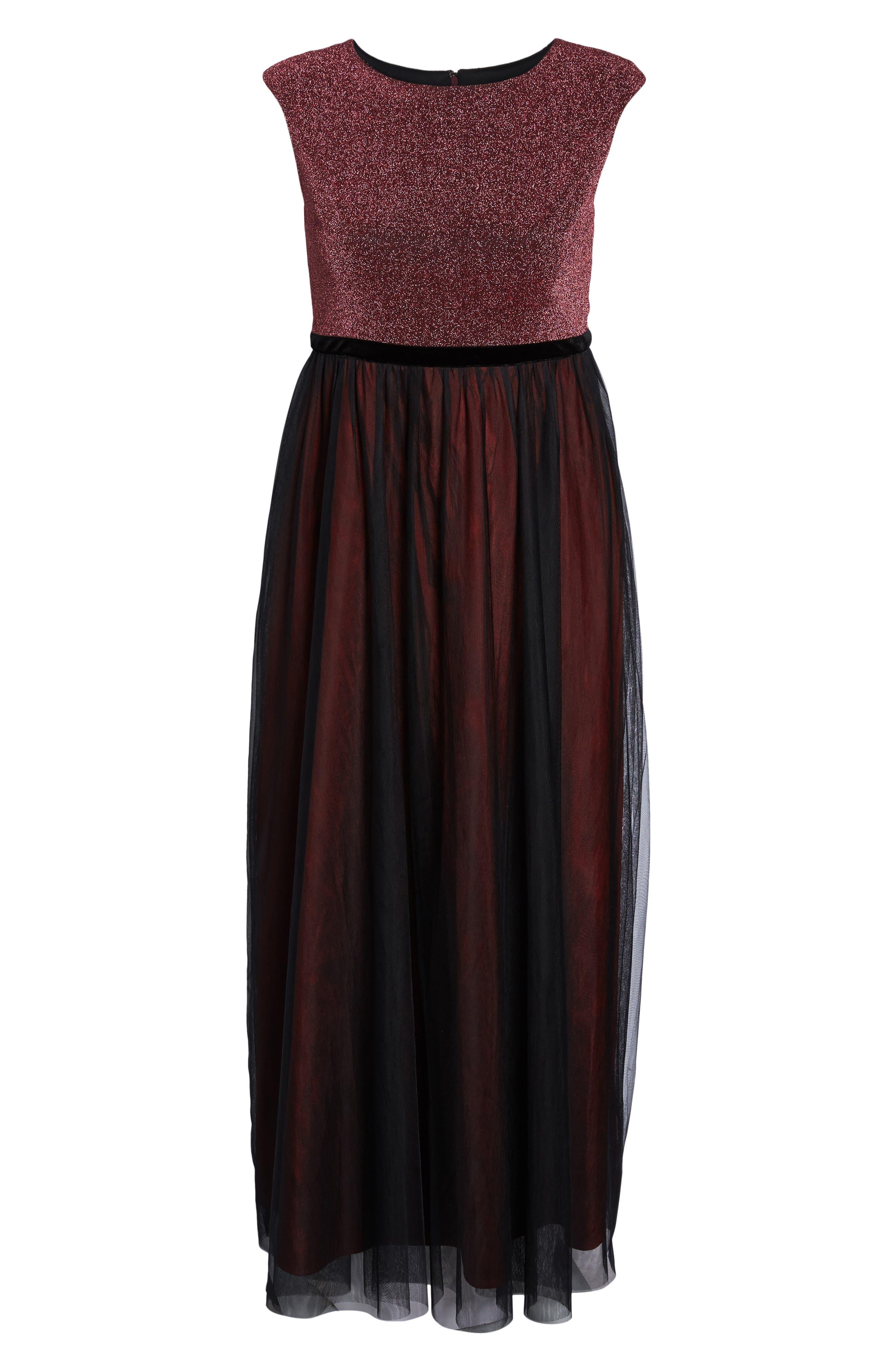 Alternate Image 6  - Sangria Metallic Knit & Tulle A-Line Gown (Plus Size)