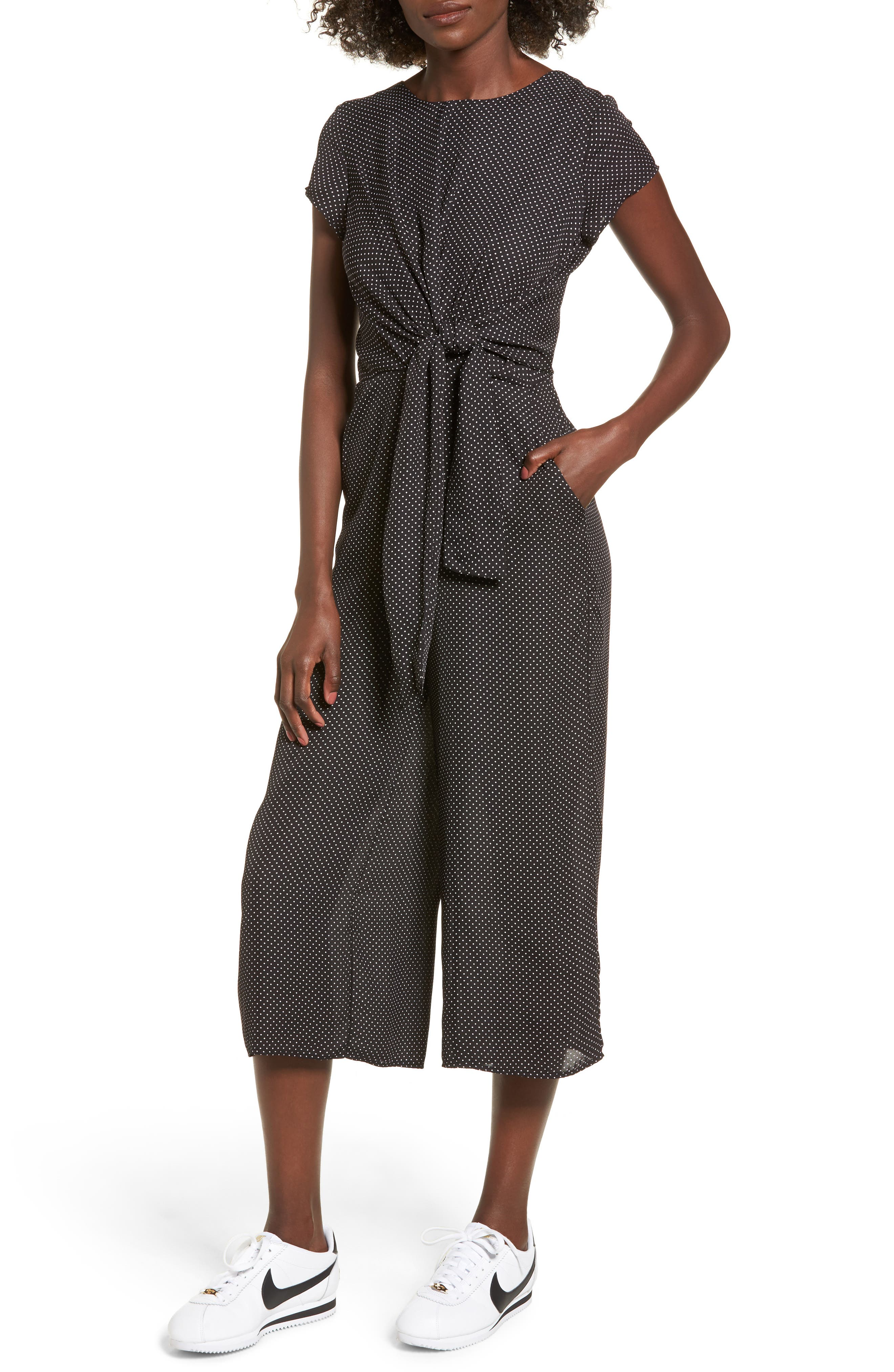 Knotted Wide Leg Jumpsuit,                         Main,                         color, Polk A Dot