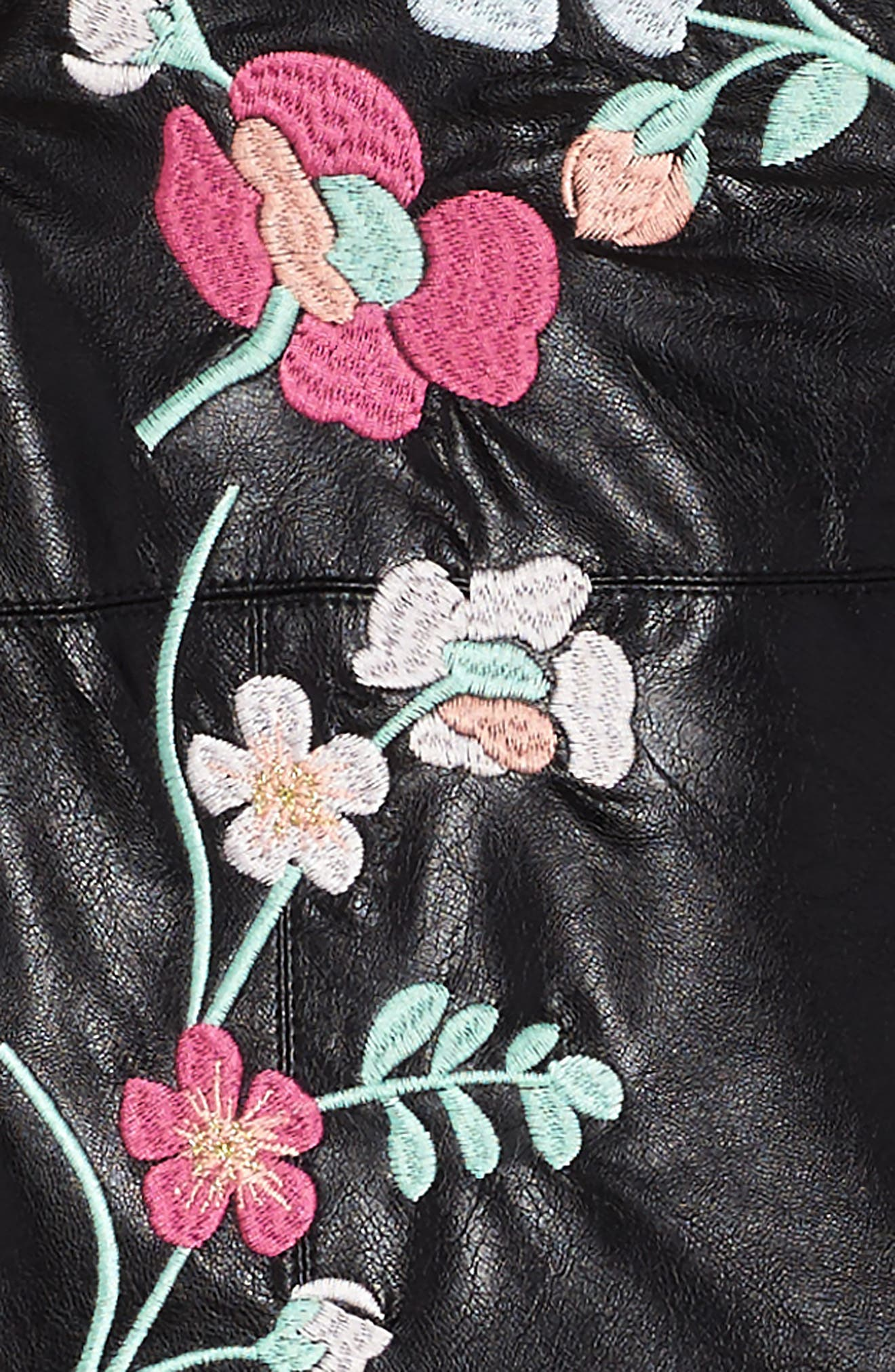 Embroidered Faux Leather Dress,                             Alternate thumbnail 3, color,                             Black