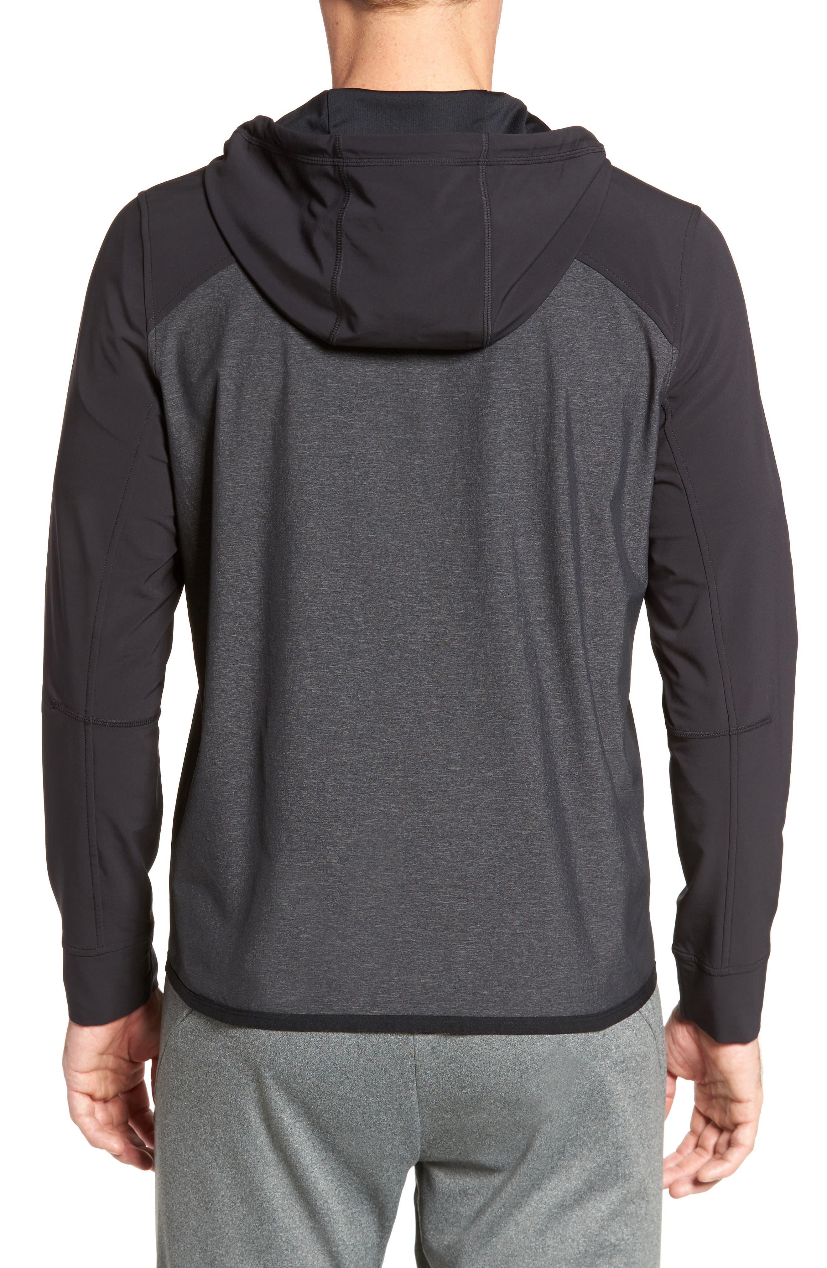 Knit & Woven Hoodie,                             Alternate thumbnail 2, color,                             Grey Ebony - Black