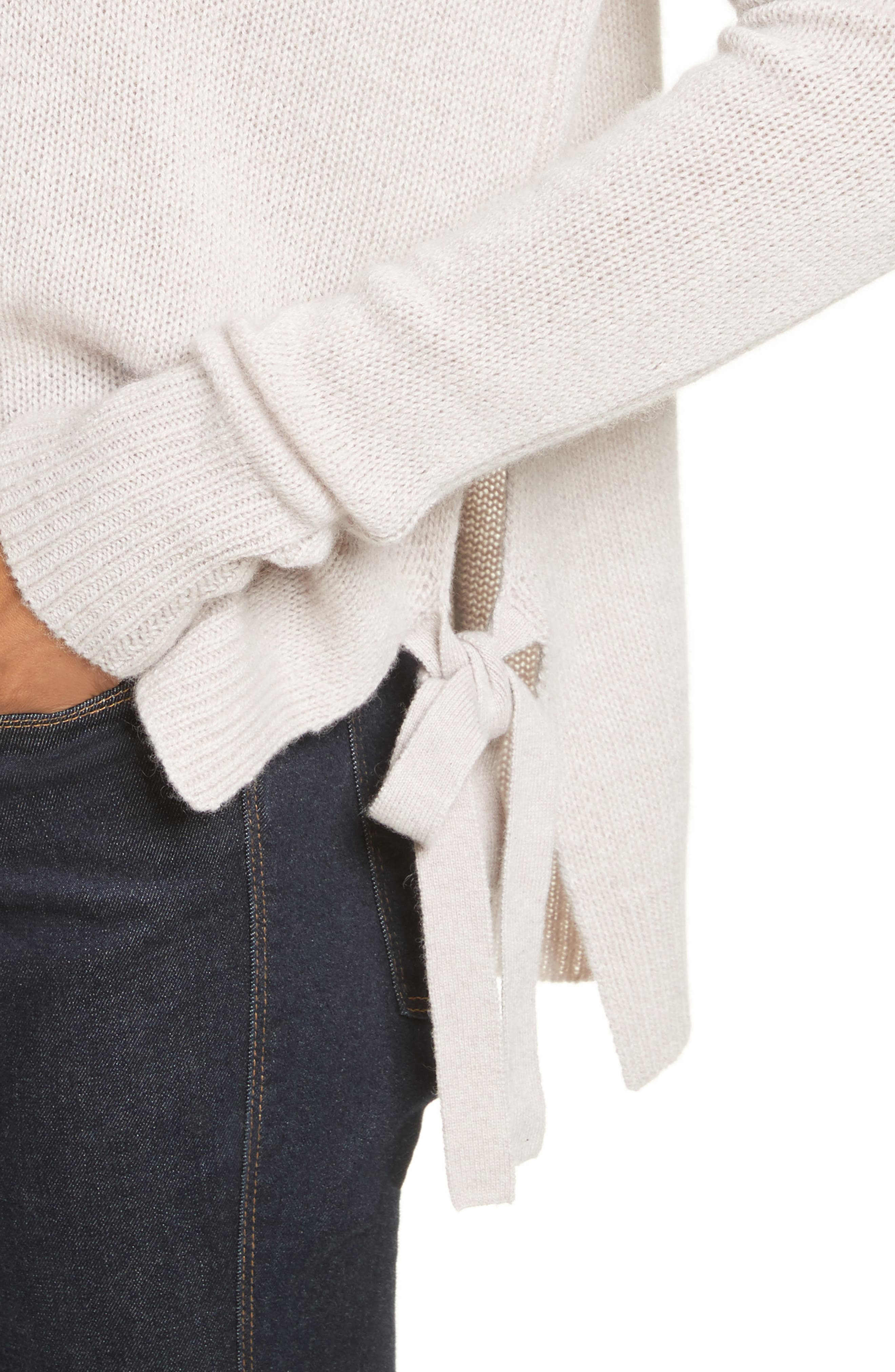 Tie Hem Cashmere Sweater,                             Alternate thumbnail 4, color,                             Bone