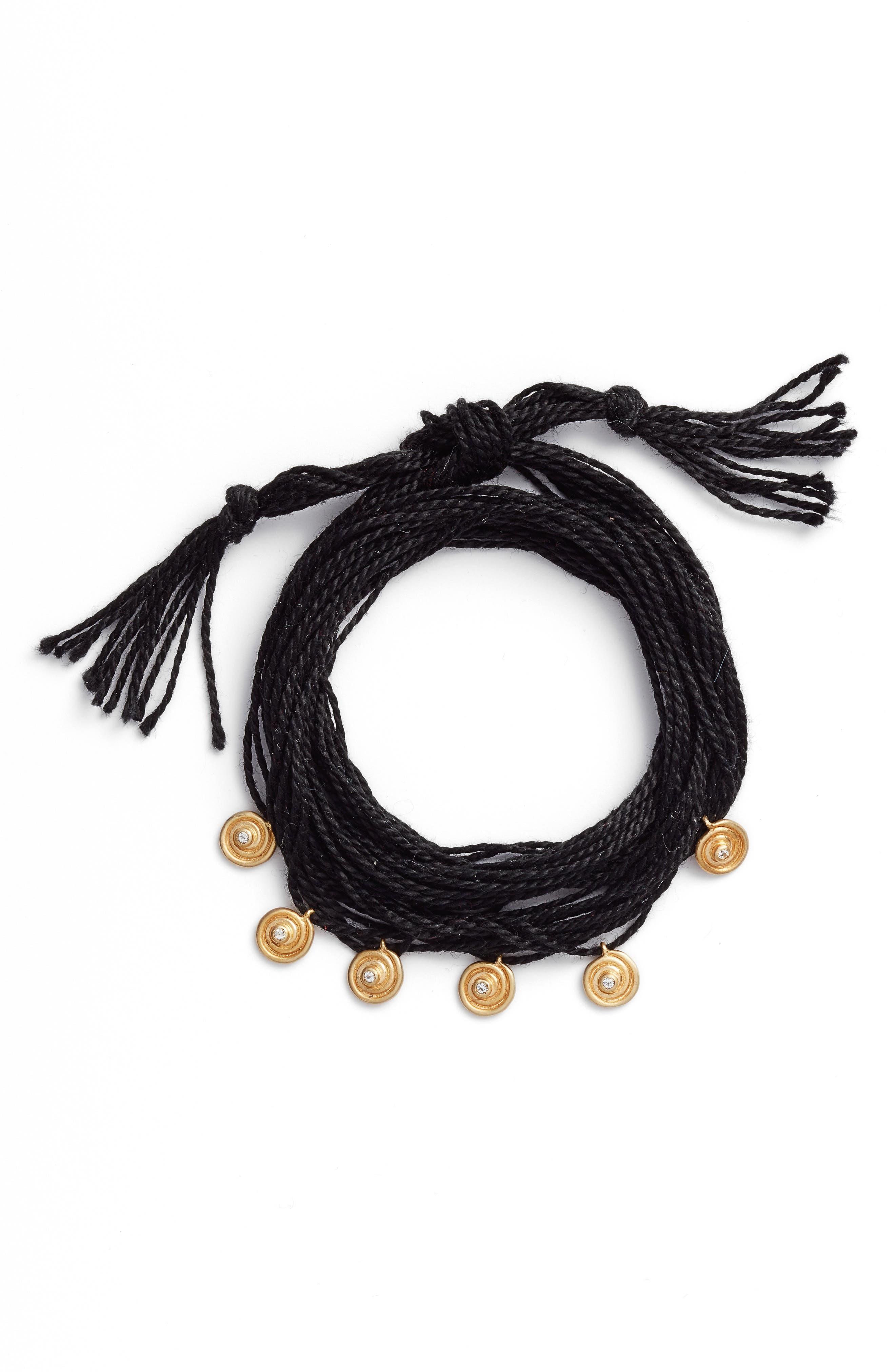 Sullivan - Maeve Wrap Bracelet,                             Main thumbnail 1, color,                             Yellow Gold/ Black