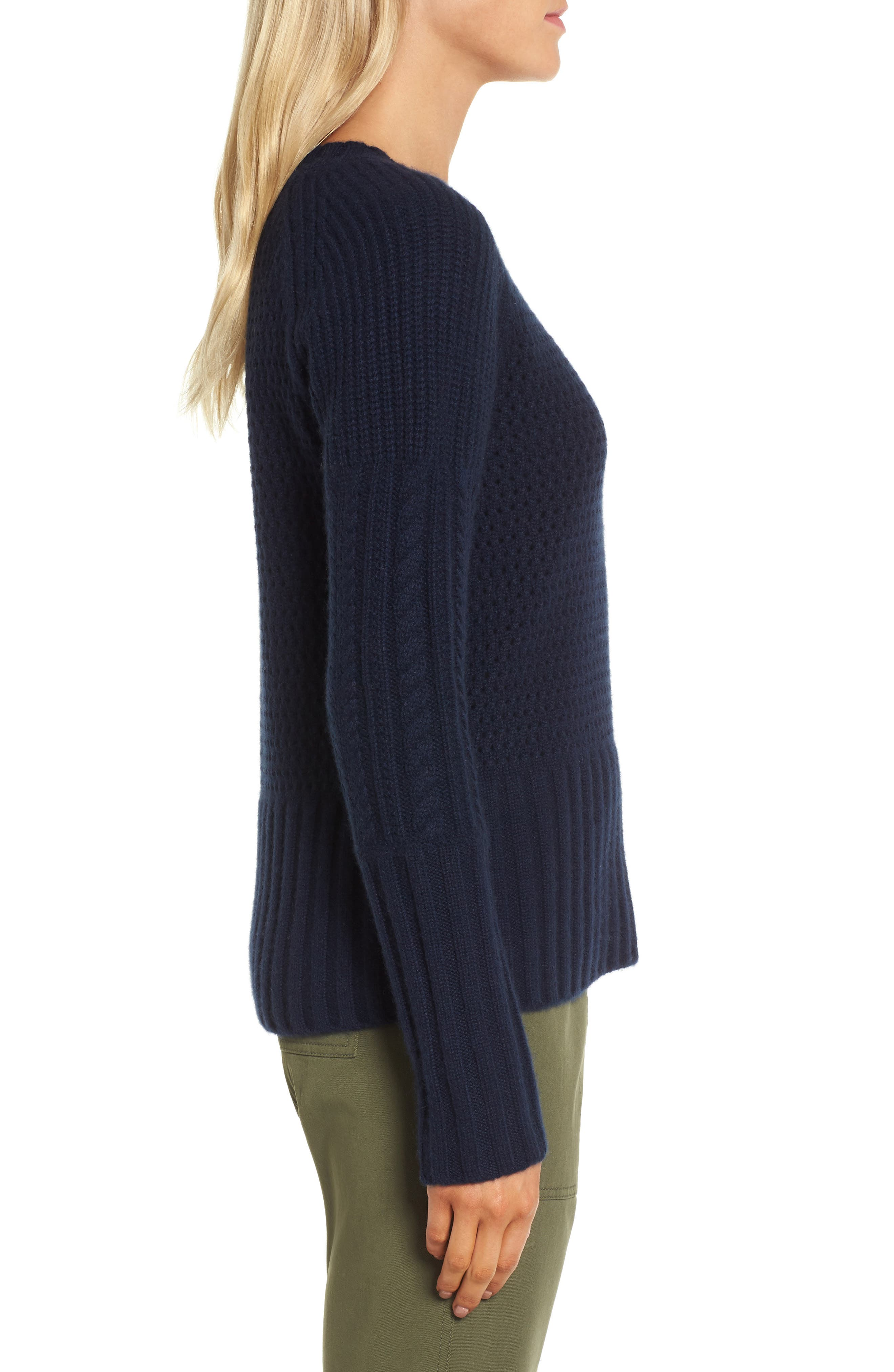 Mixed Stitch Cashmere Sweater,                             Alternate thumbnail 3, color,                             Navy Medieval
