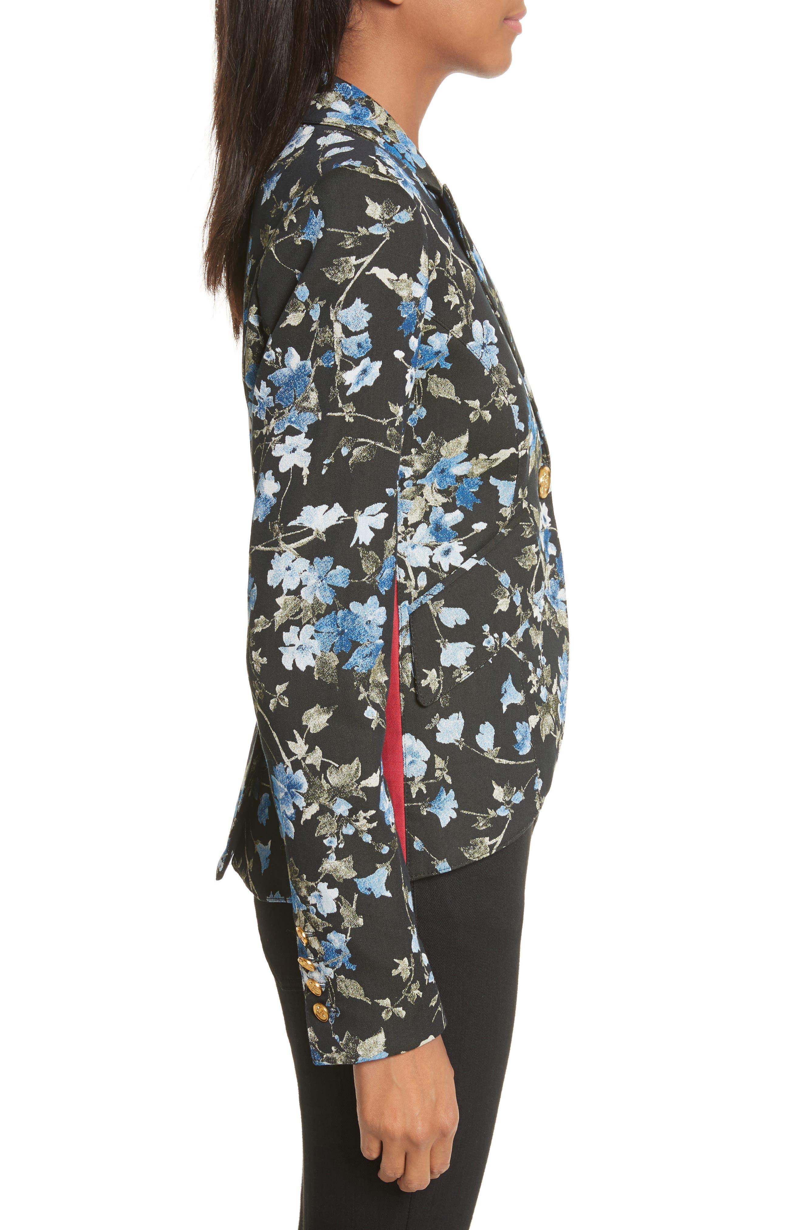 Tuxedo Stripe Floral Jacquard Blazer,                             Alternate thumbnail 3, color,                             Floral