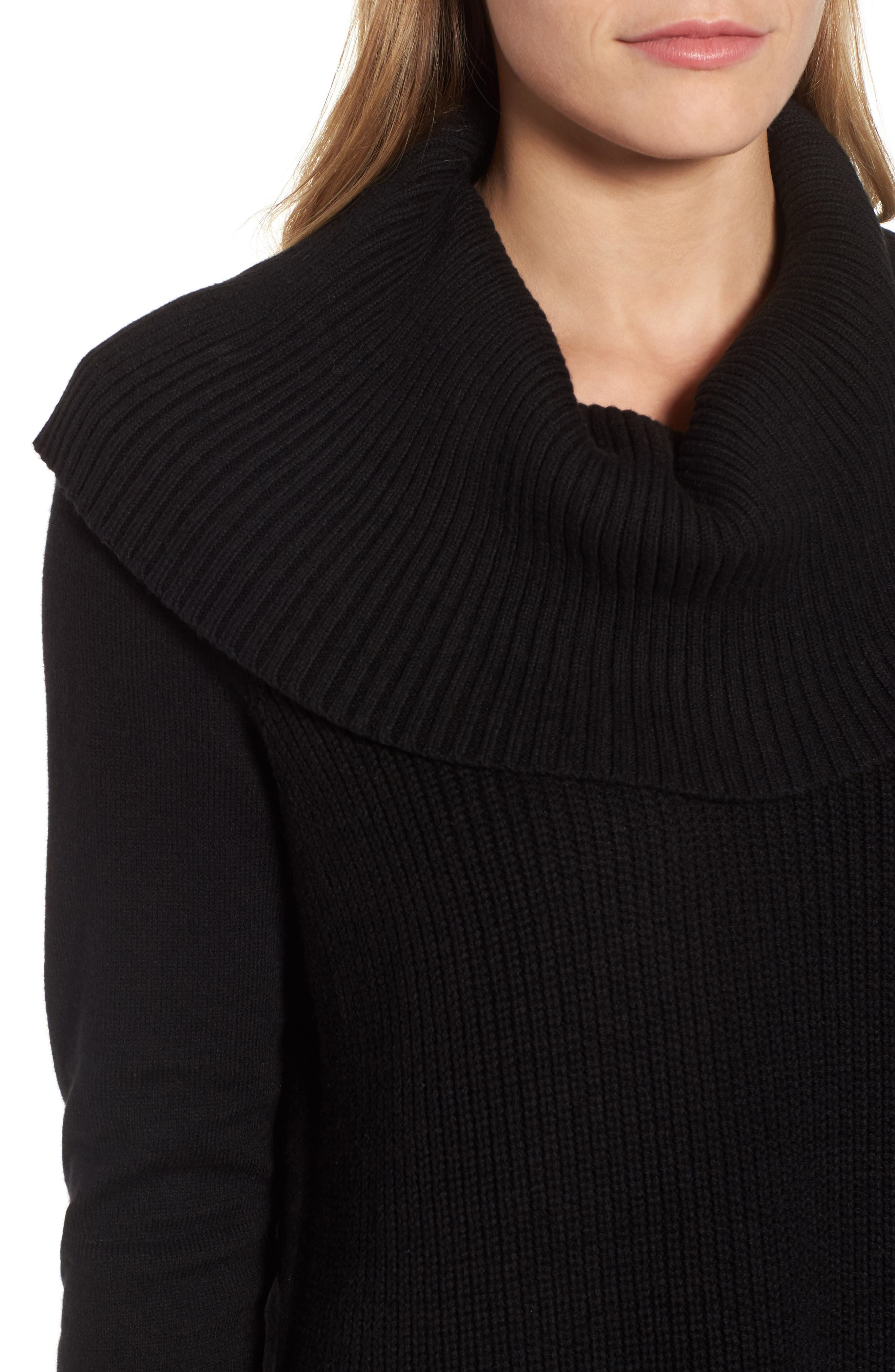 Cowl Neck Sweater,                             Alternate thumbnail 4, color,                             Black