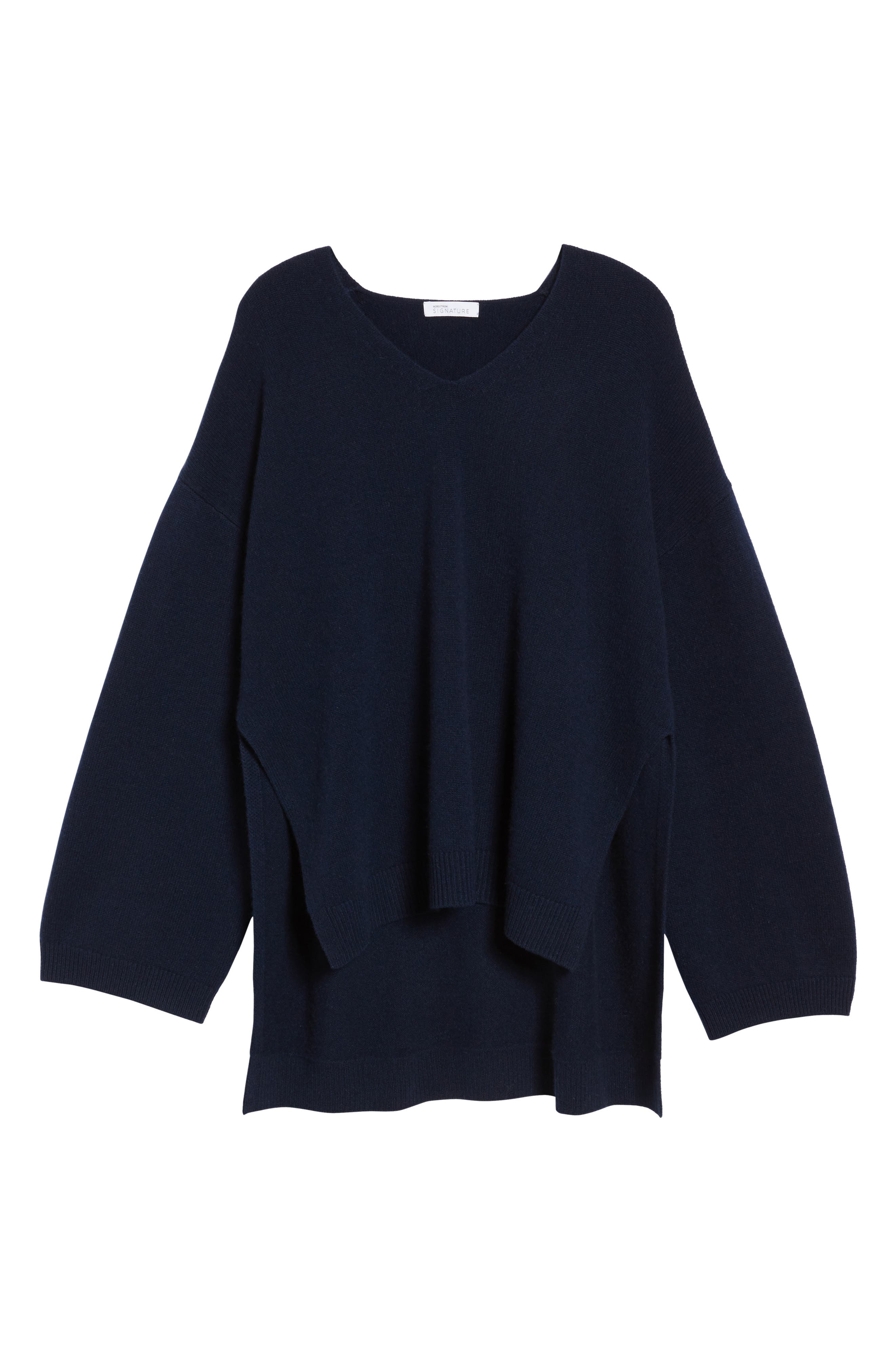 Cashmere High/Low Tunic Sweater,                             Alternate thumbnail 6, color,                             Navy Medieval