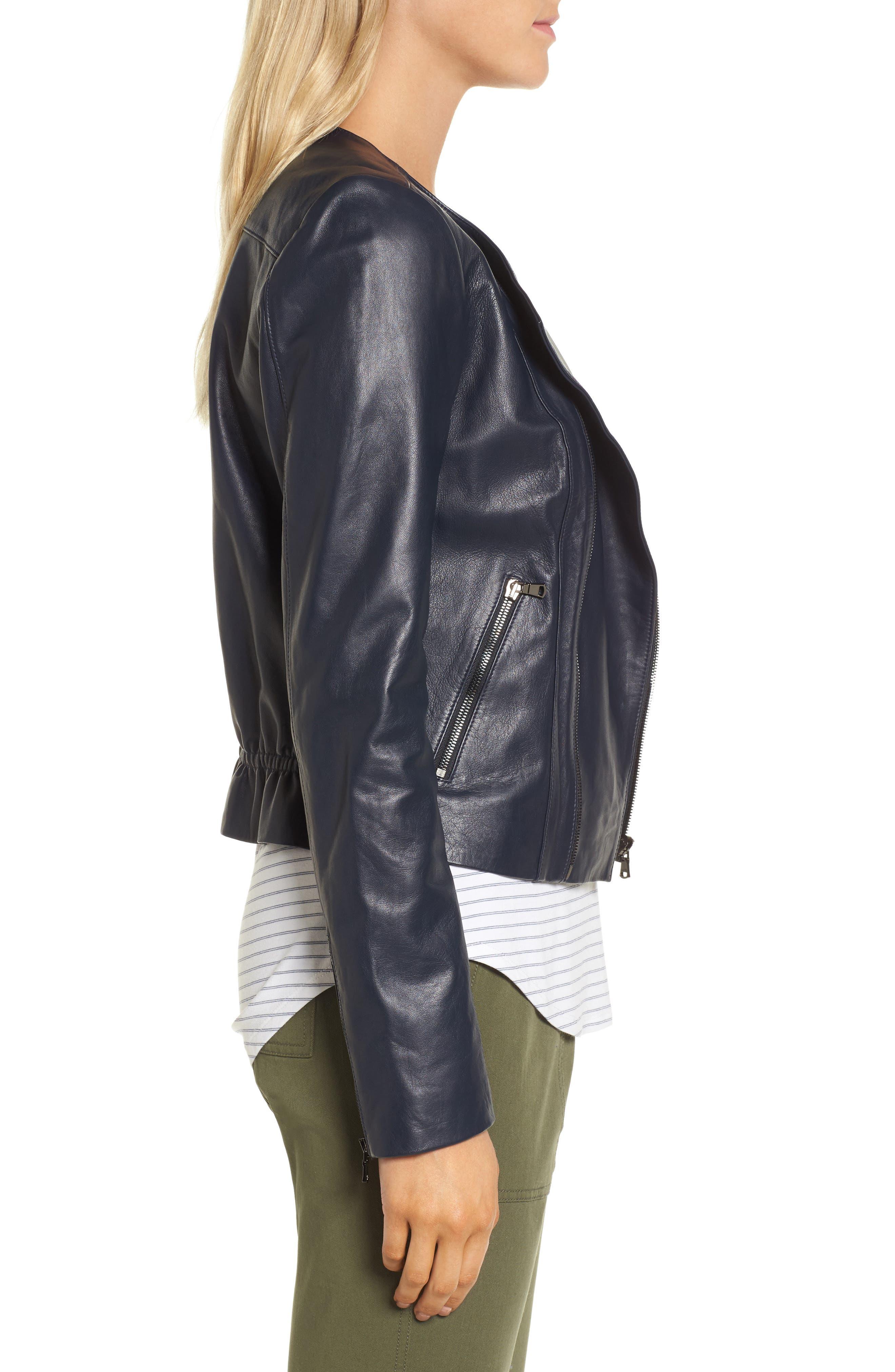 Ruffle Back Leather Jacket,                             Alternate thumbnail 3, color,                             Navy Night