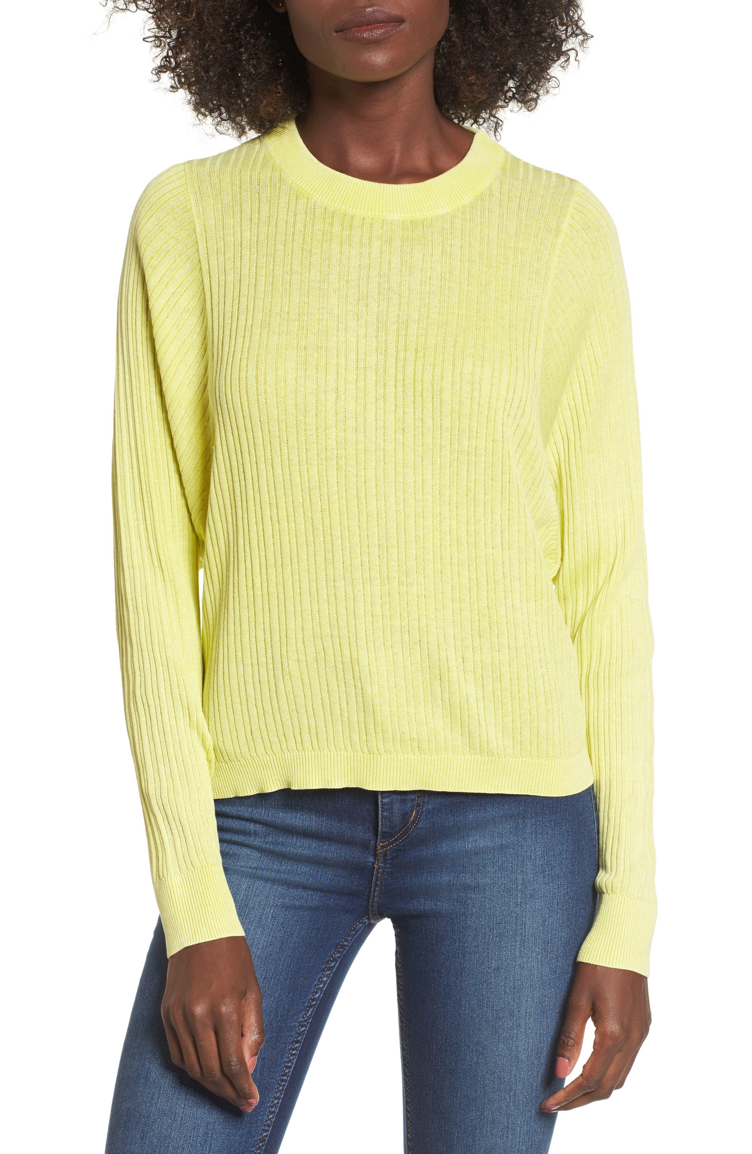 Crewneck Variegated Rib-Knit Sweater,                         Main,                         color, Green Sulphur