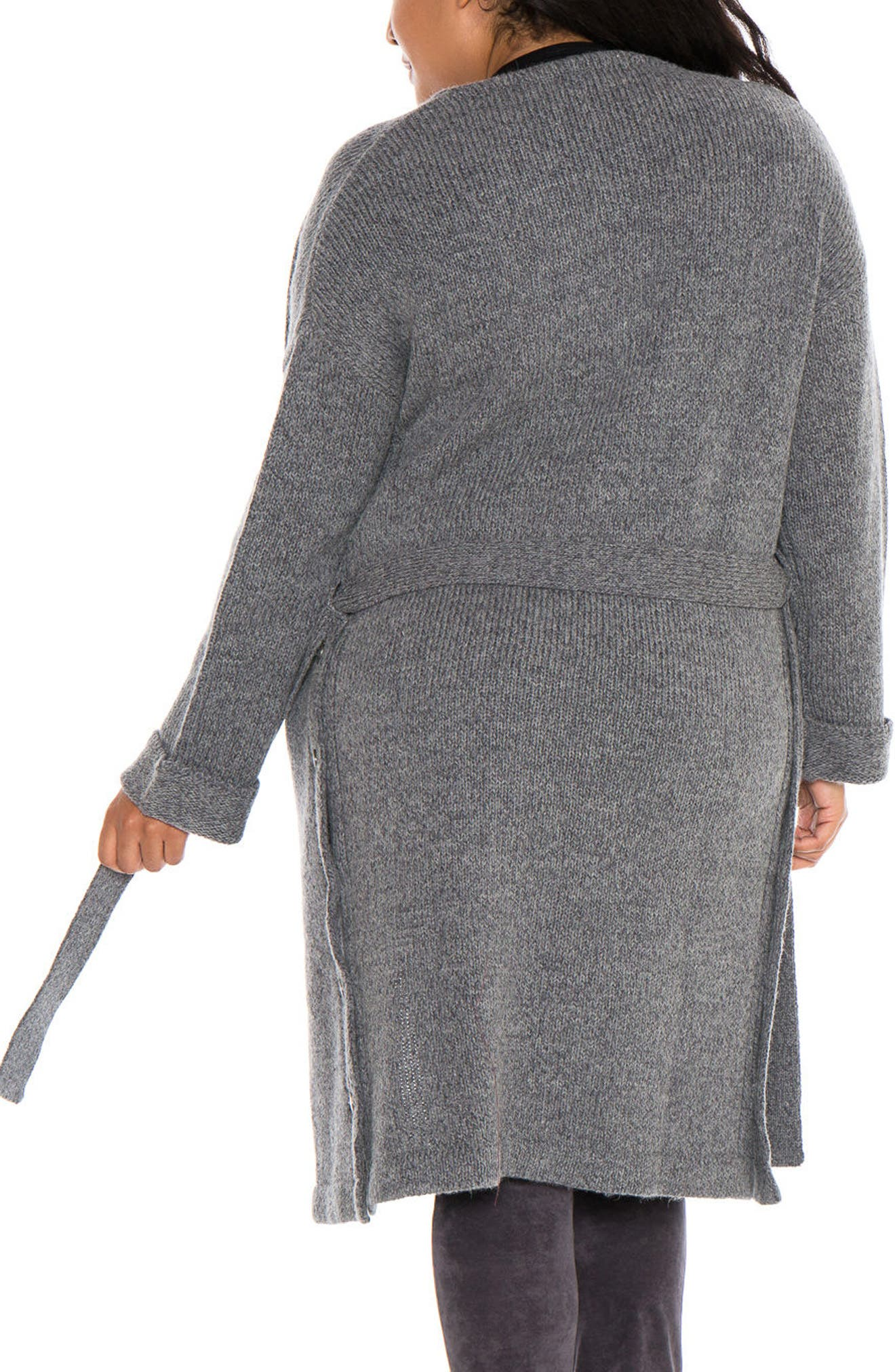 Side Button Long Cardigan,                             Alternate thumbnail 2, color,                             Dark Charcoal