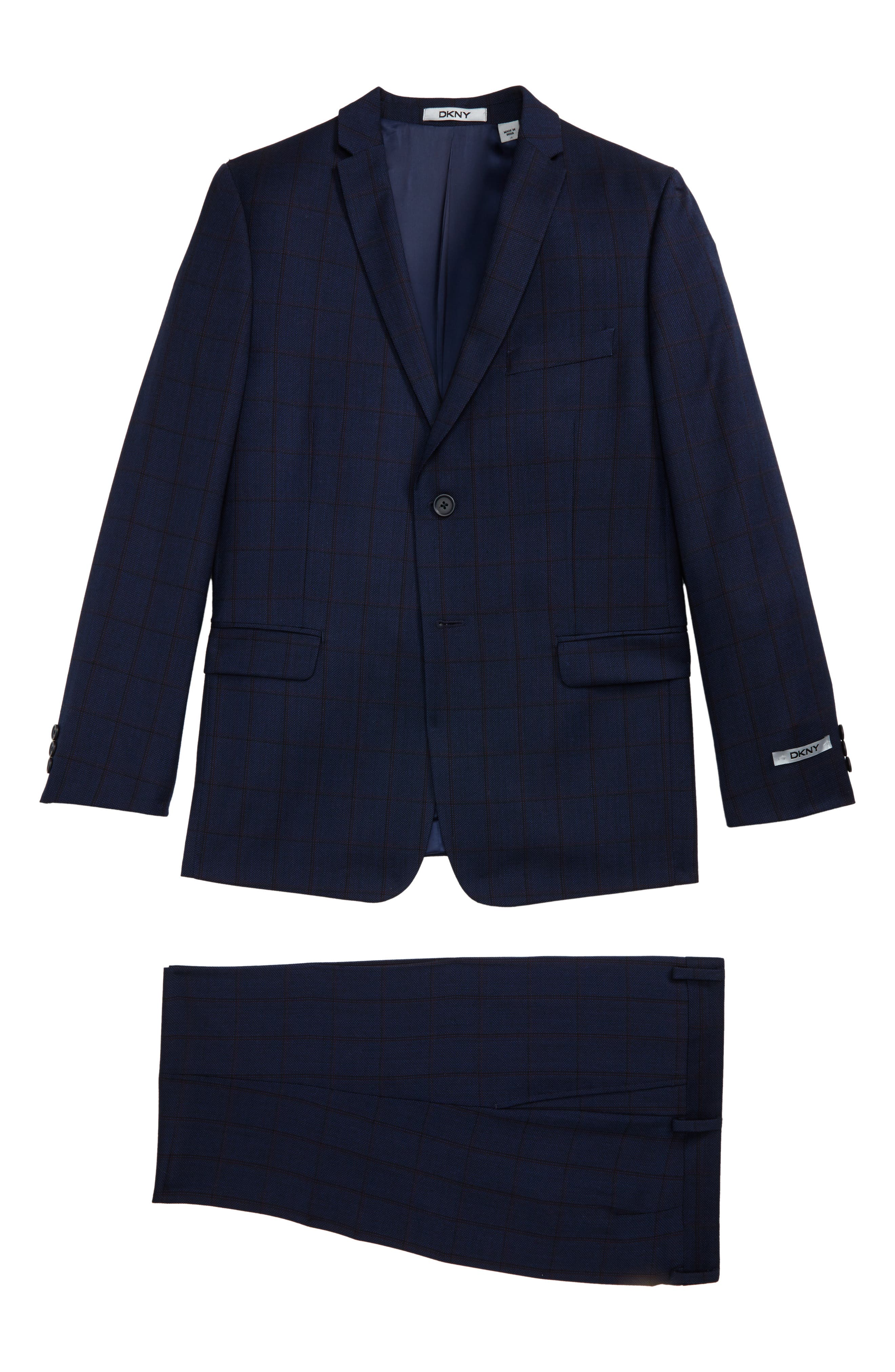 Windowpane Wool Suit,                         Main,                         color, Blue