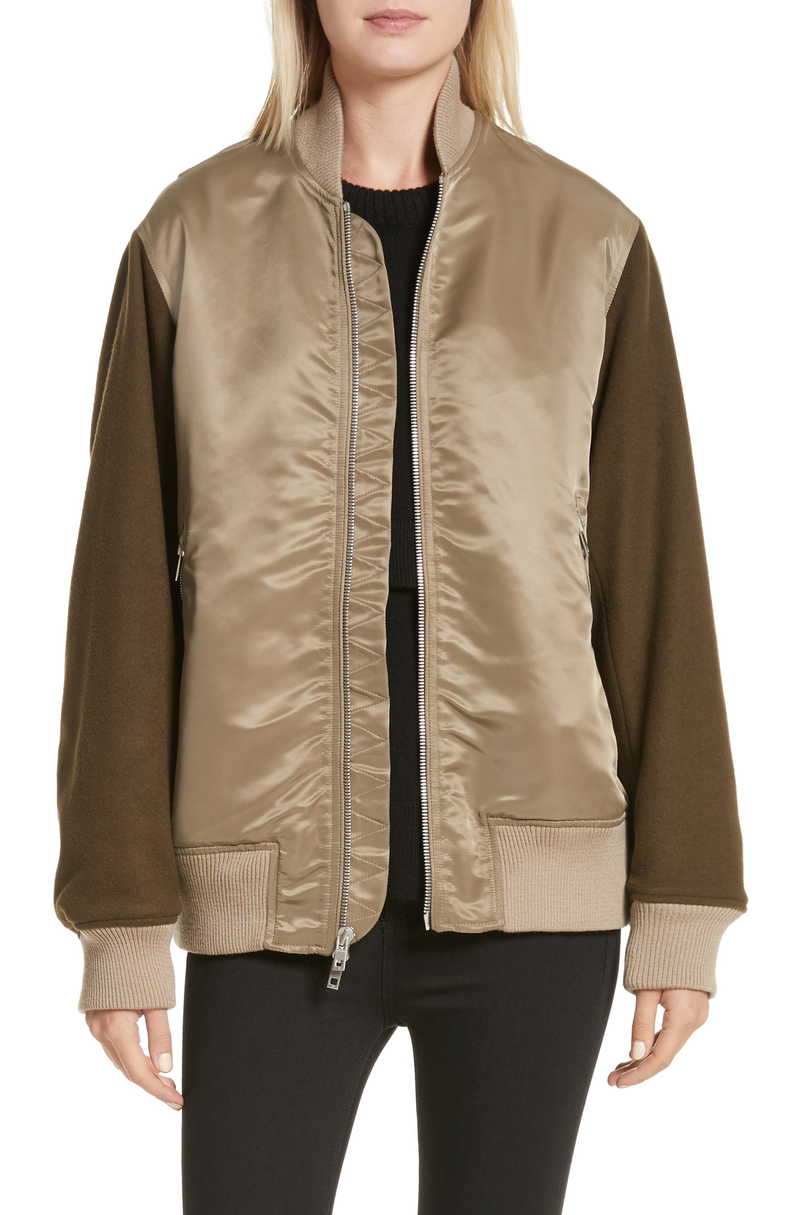 Elle Mixed Media Bomber Jacket,                             Main thumbnail 1, color,                             Army Green