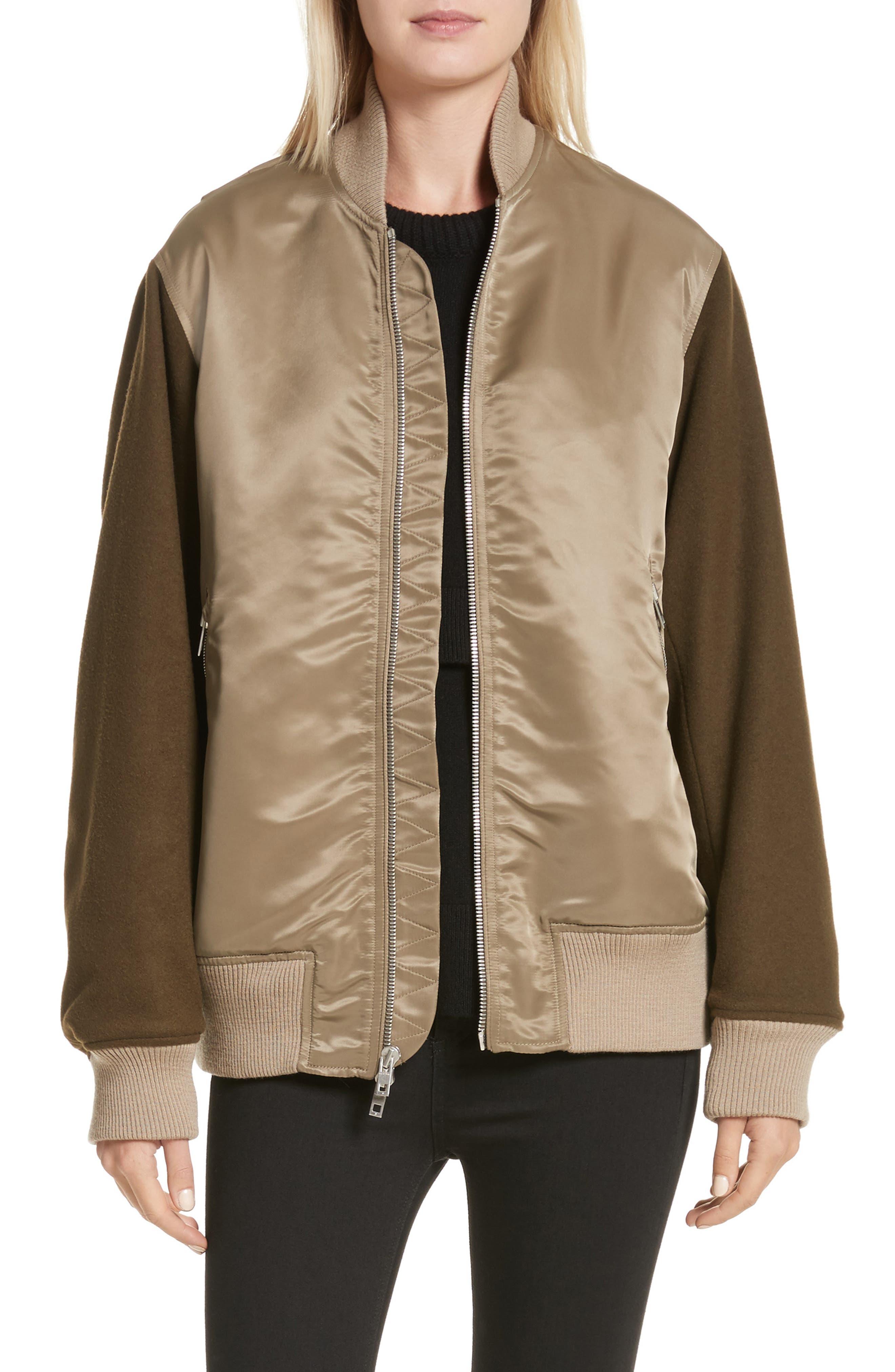 Elle Mixed Media Bomber Jacket,                         Main,                         color, Army Green