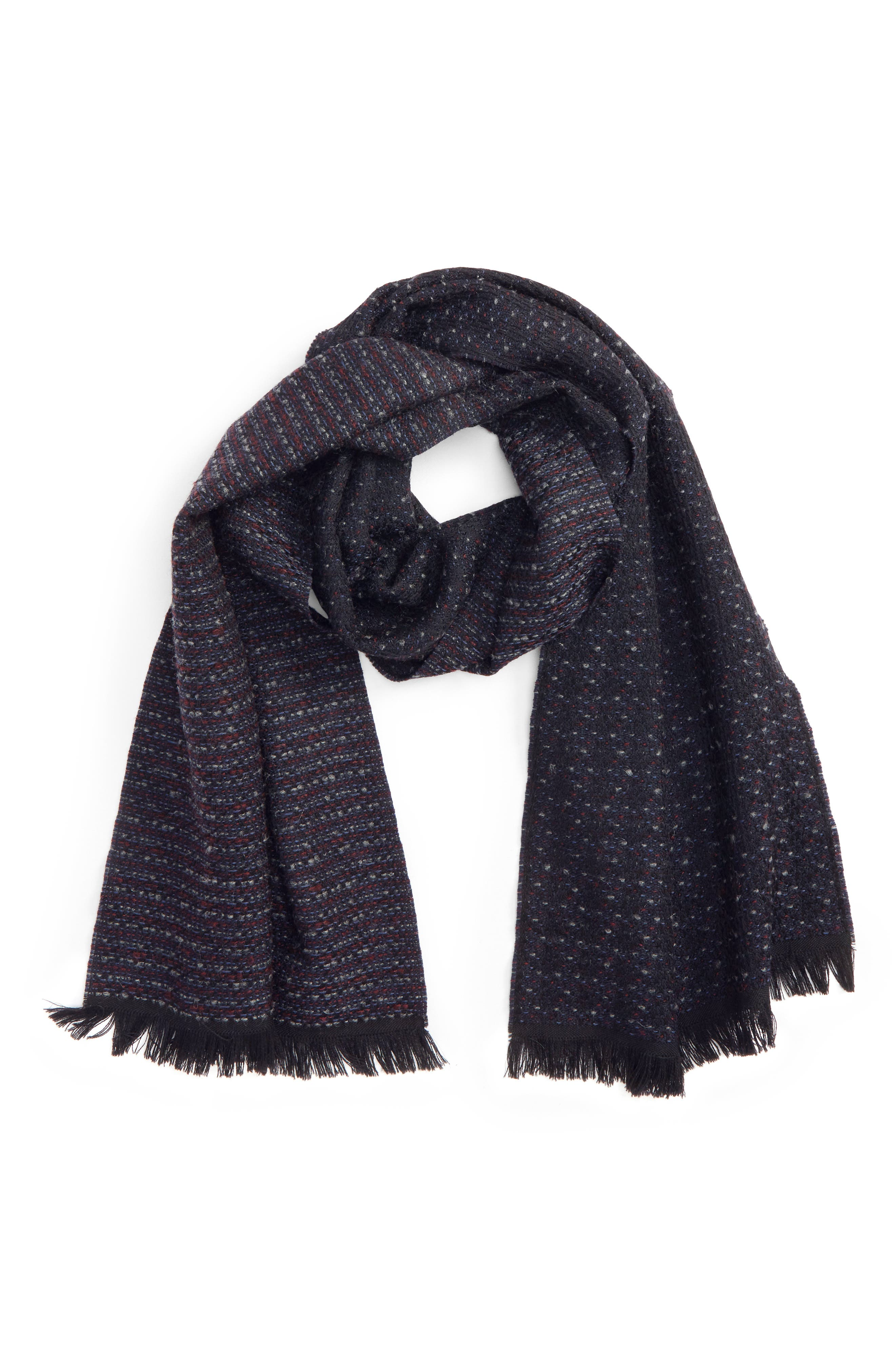 Dot Wool Blend Scarf,                         Main,                         color, Navy