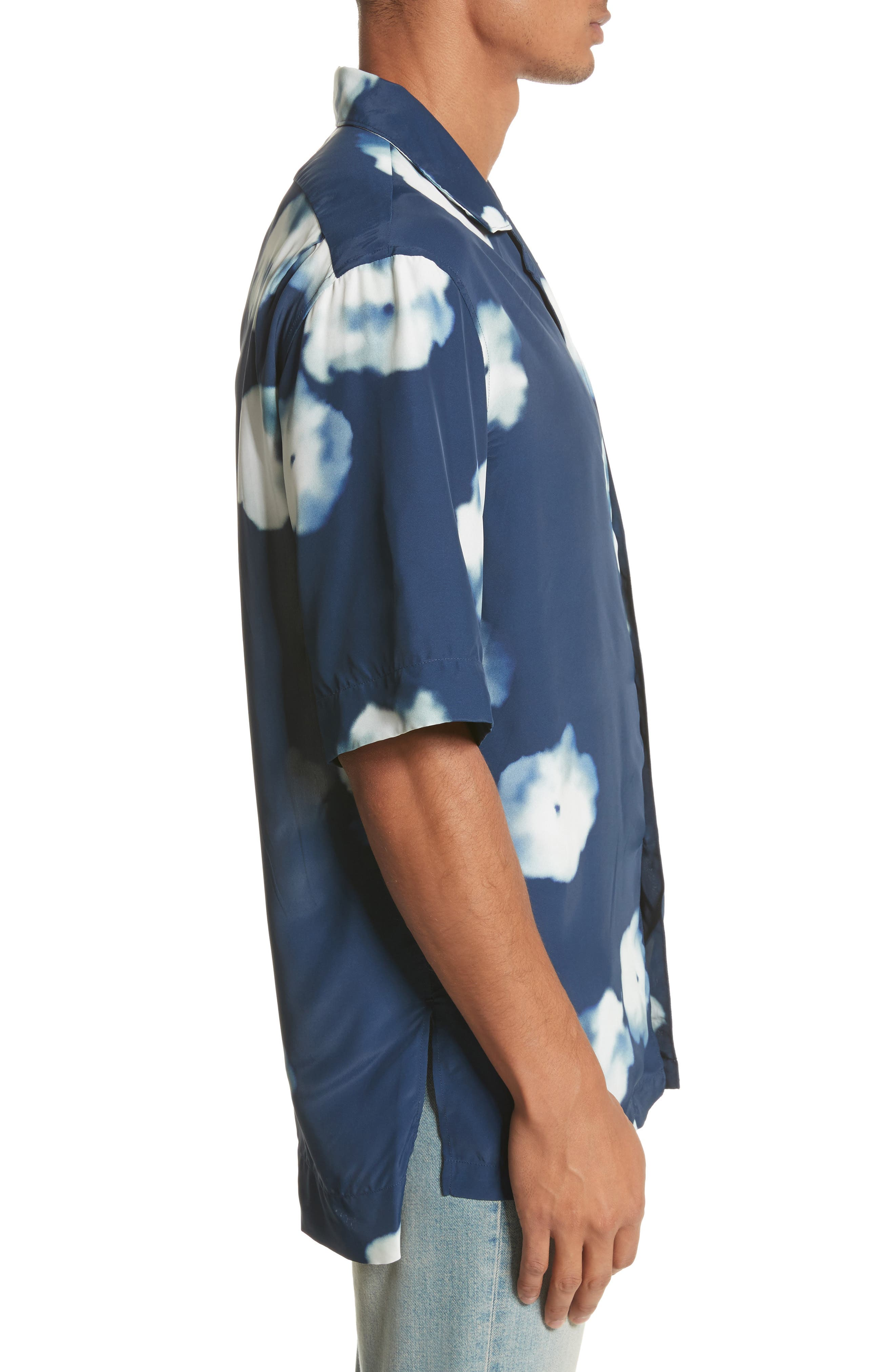 Elms Flower Print Shirt,                             Alternate thumbnail 4, color,                             Indigo Blue