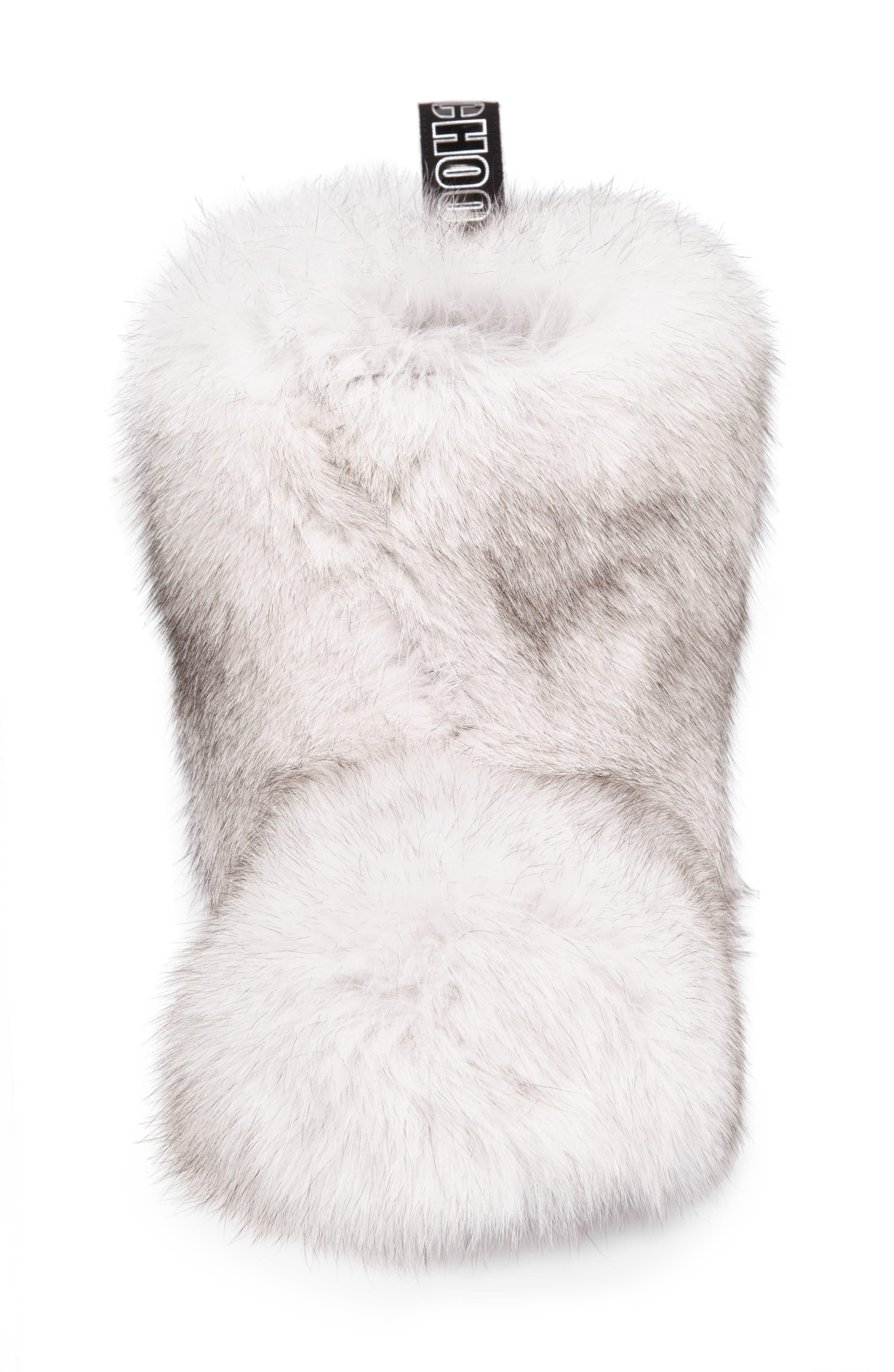 Dalton Genuine Fox & Rabbit Fur Bootie,                             Alternate thumbnail 4, color,                             White