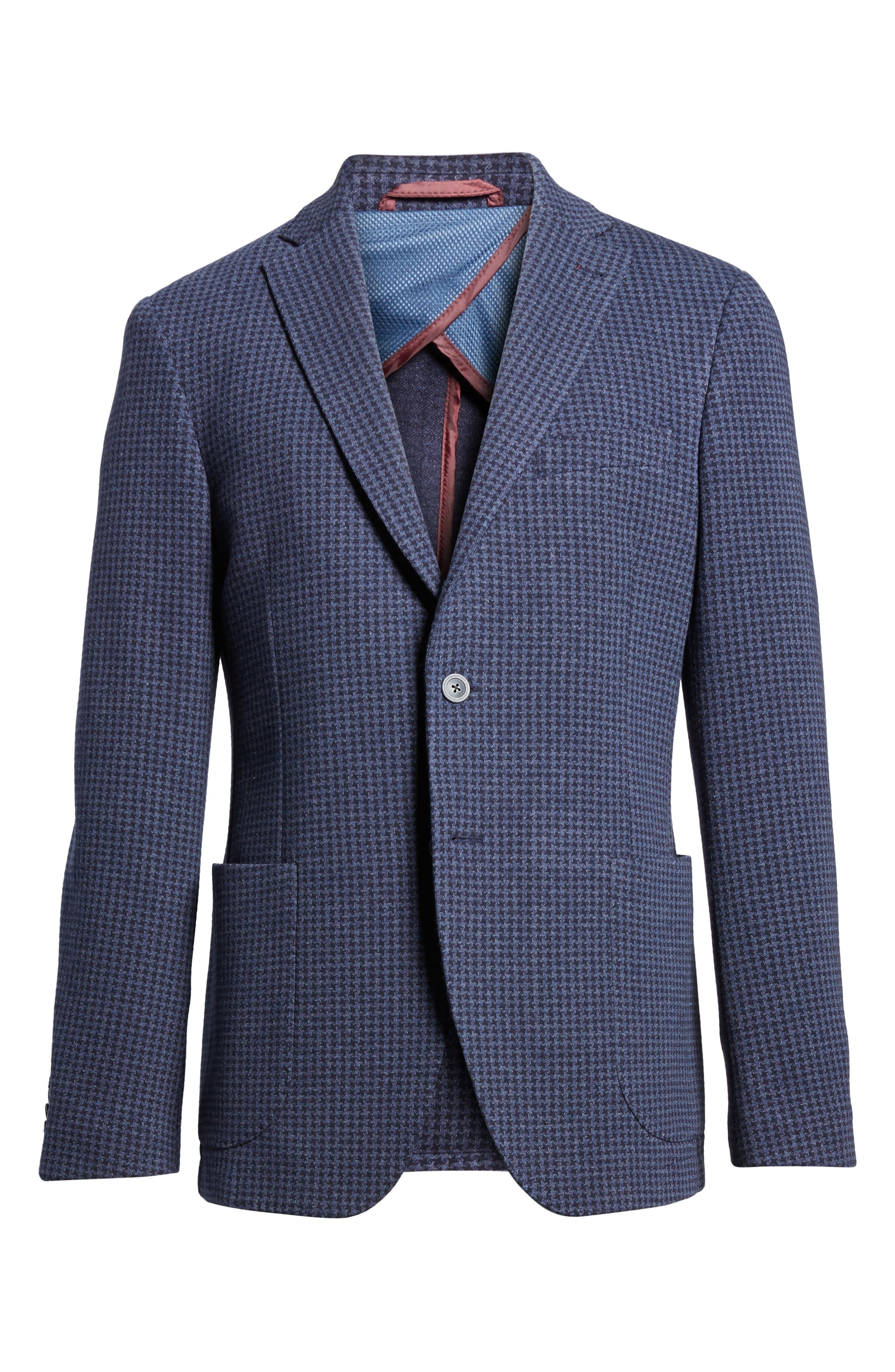 Houndstooth Cotton Knit Blazer,                             Alternate thumbnail 6, color,                             Navy