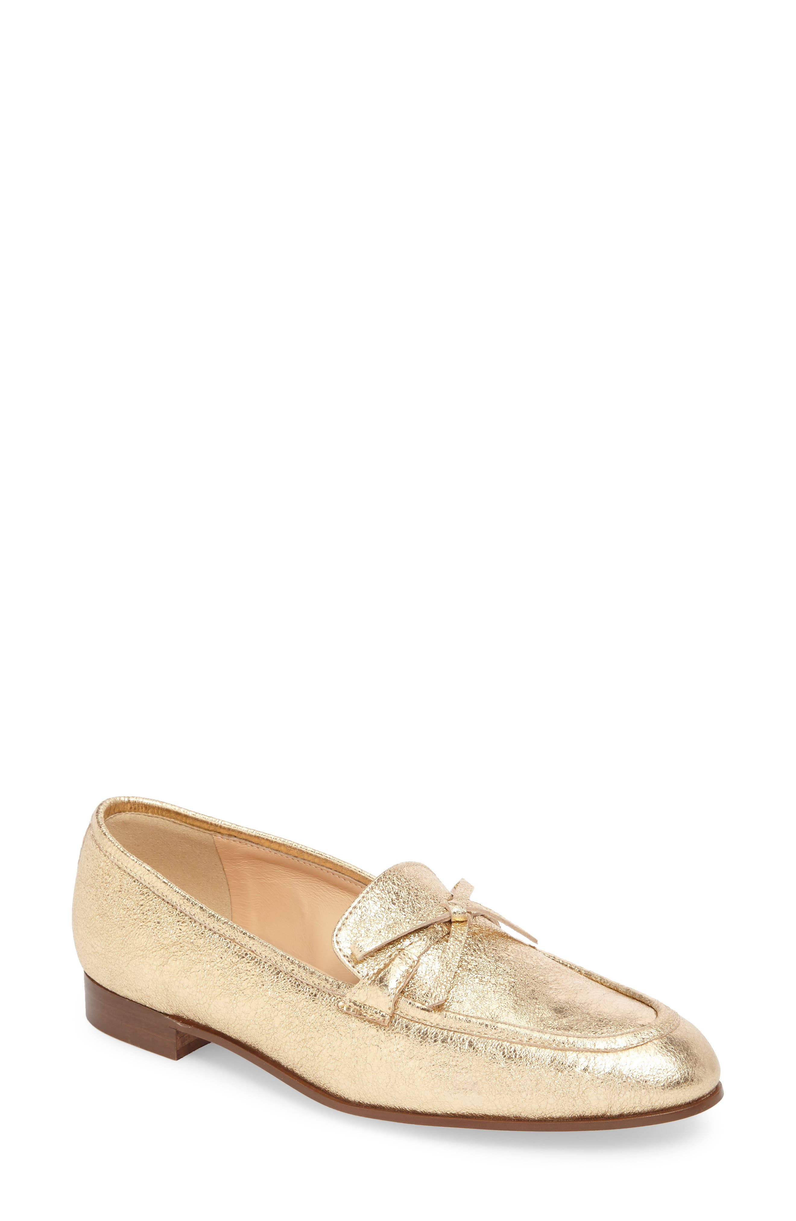 J. Crew Metallic Bow Loafer,                         Main,                         color, Metallic Gold Leather