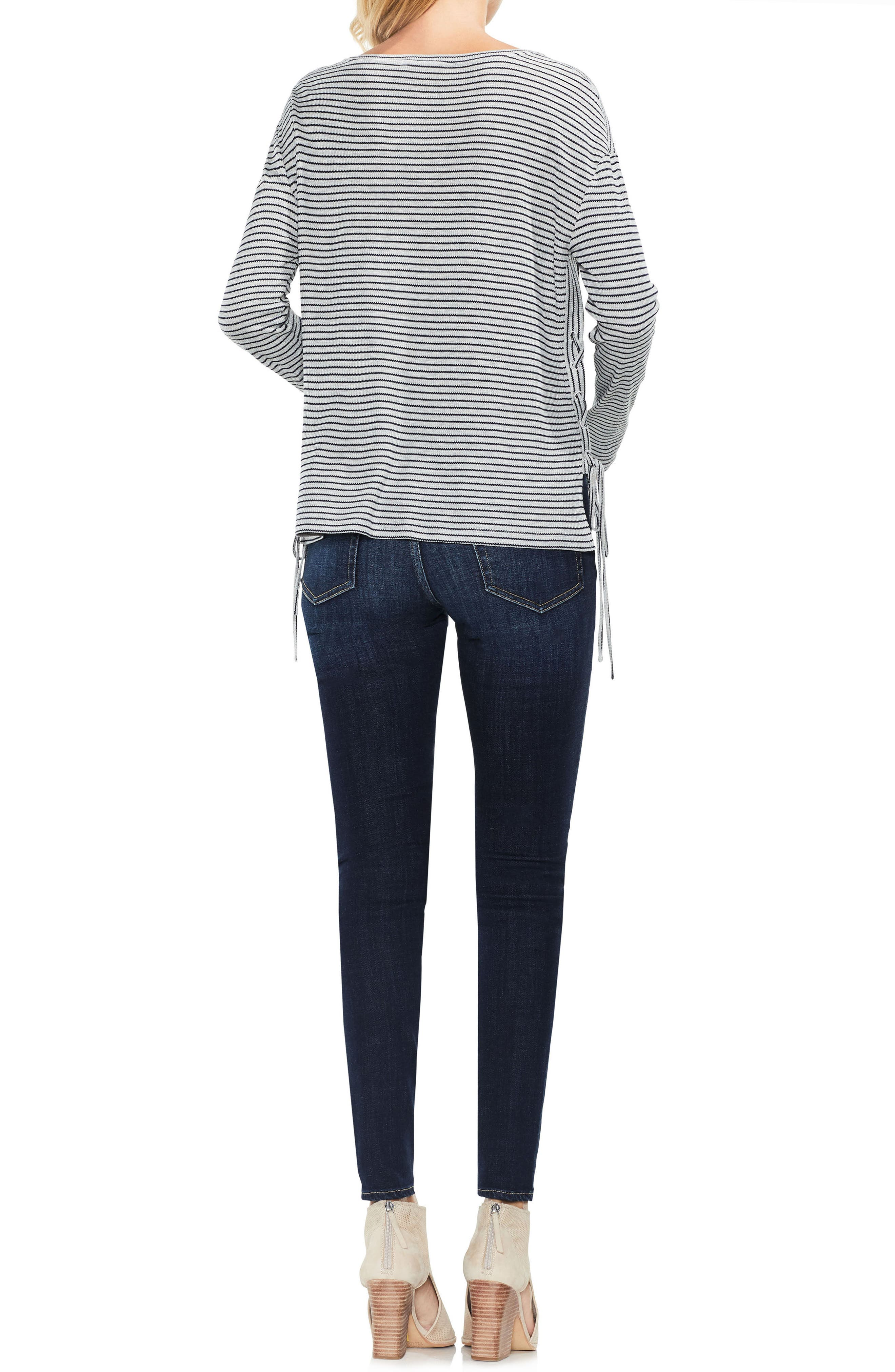 Lace-Up Side Stripe Top,                             Alternate thumbnail 2, color,                             Light Heather Grey