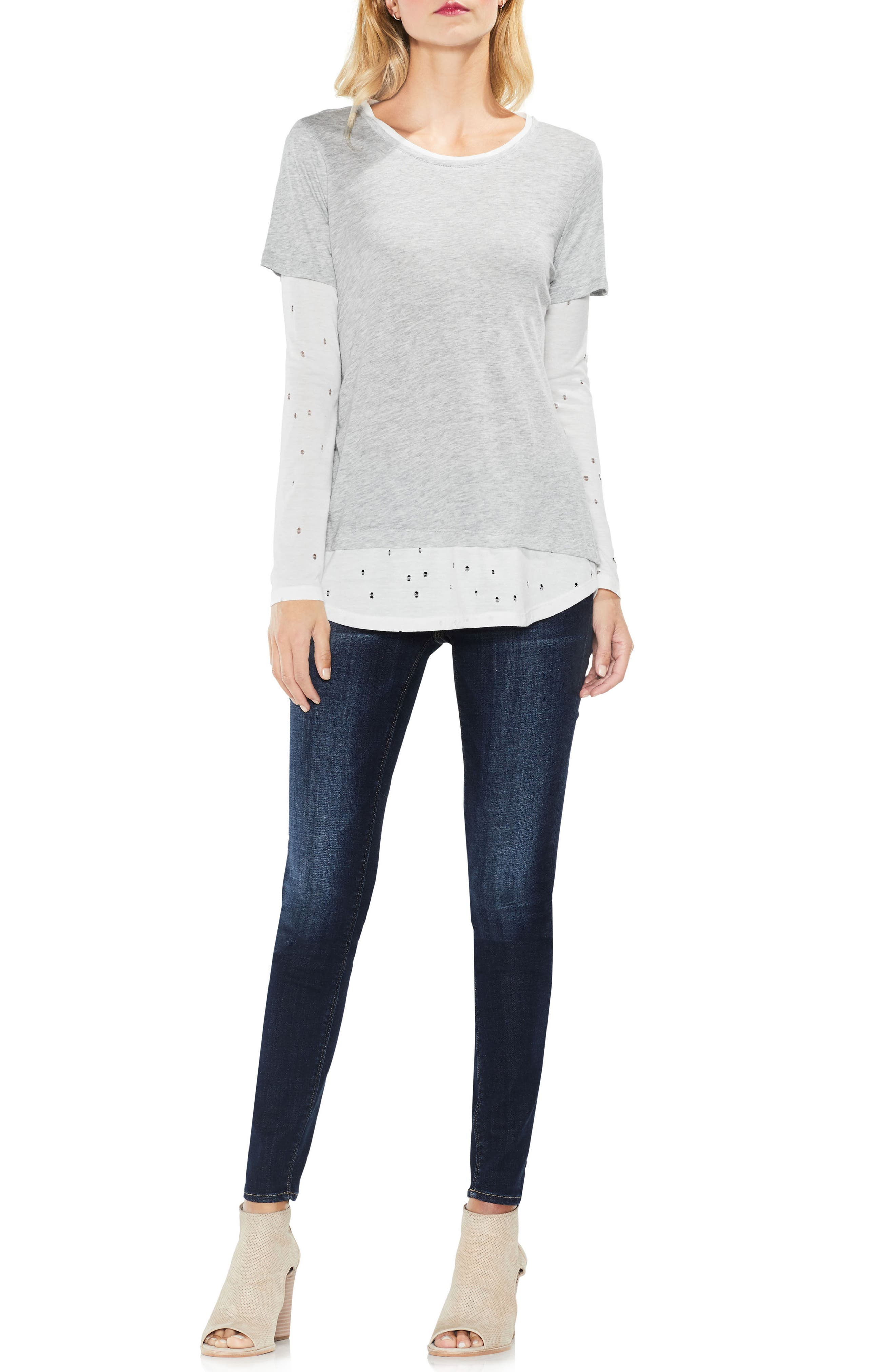Alternate Image 3  - Two by Vince Camuto Distressed Mix Media Top