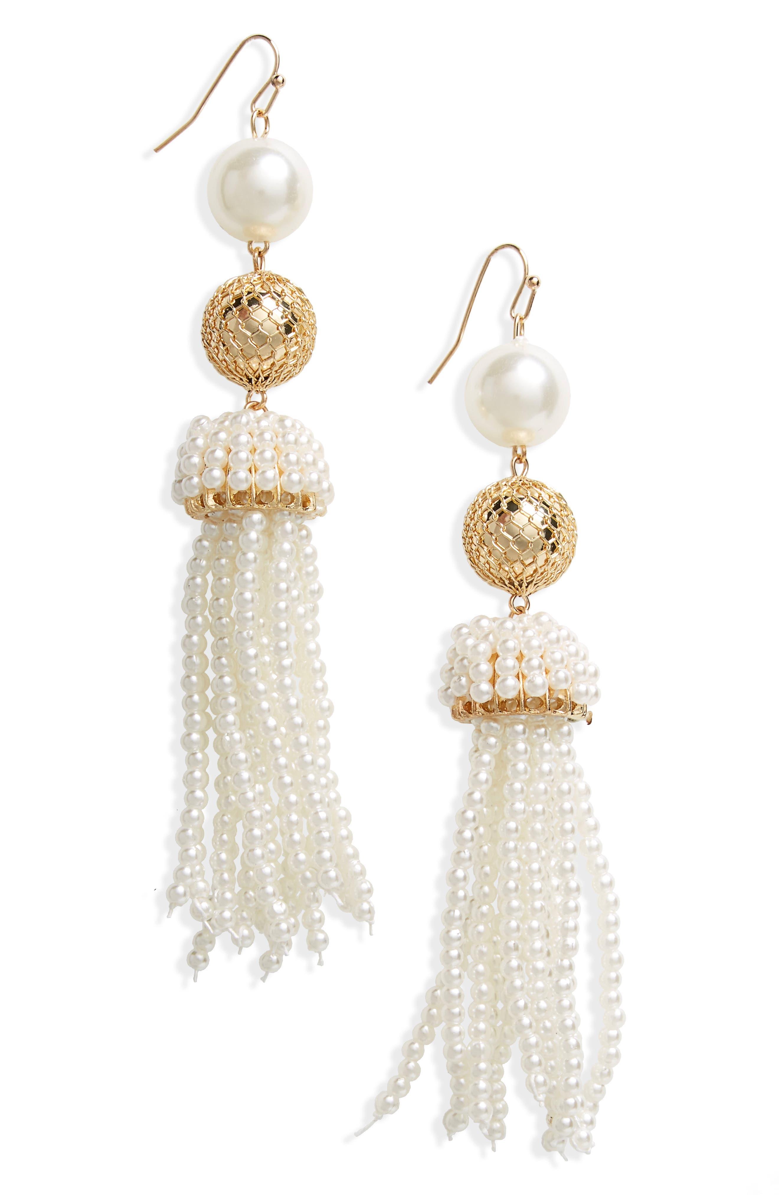 Imitation Pearl Beaded Tassel Earrings,                         Main,                         color, Gold/ Pearl