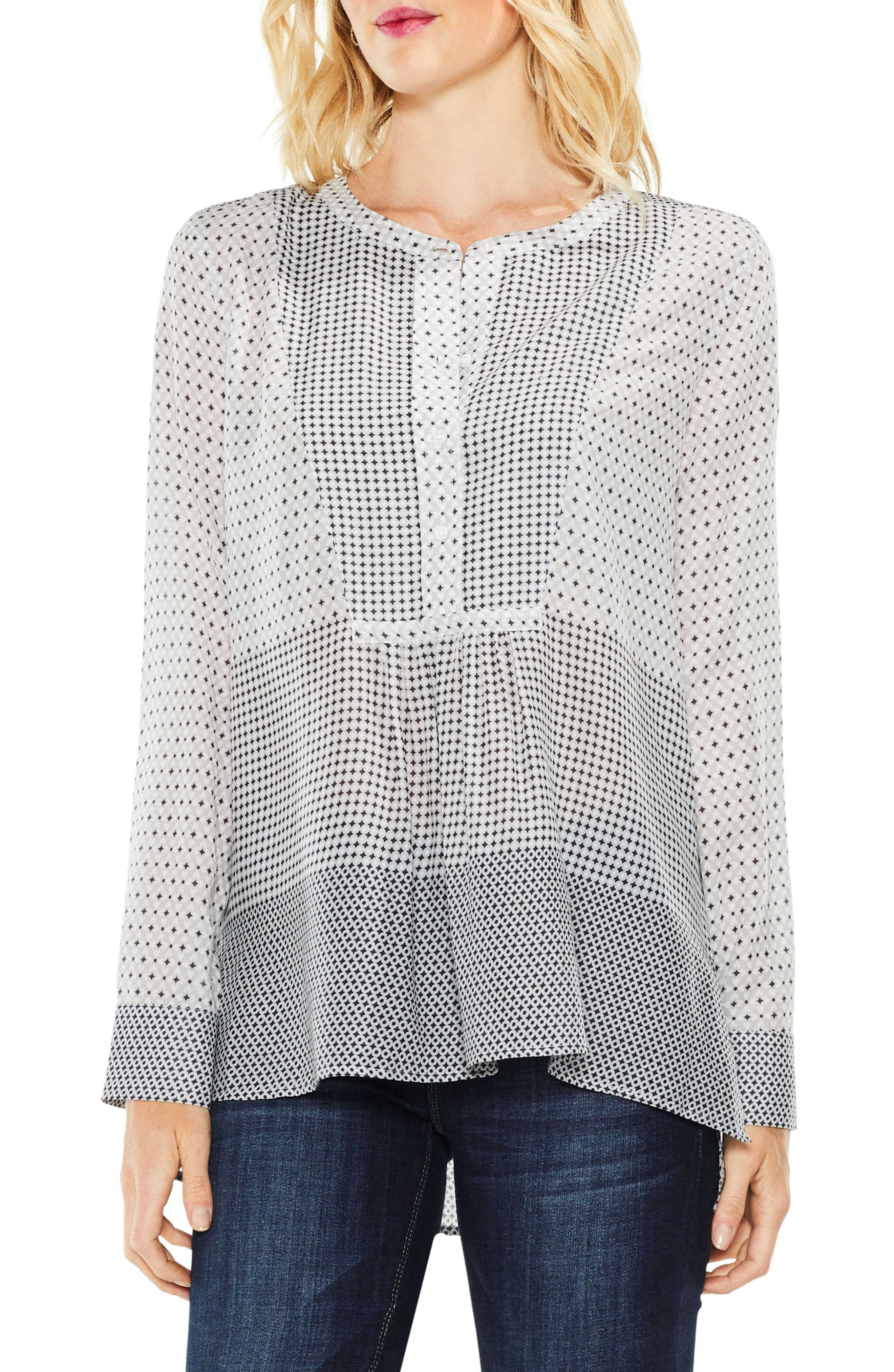 Two by Vince Camuto Quiet Tile Border Bib Henley,                         Main,                         color, Magnet