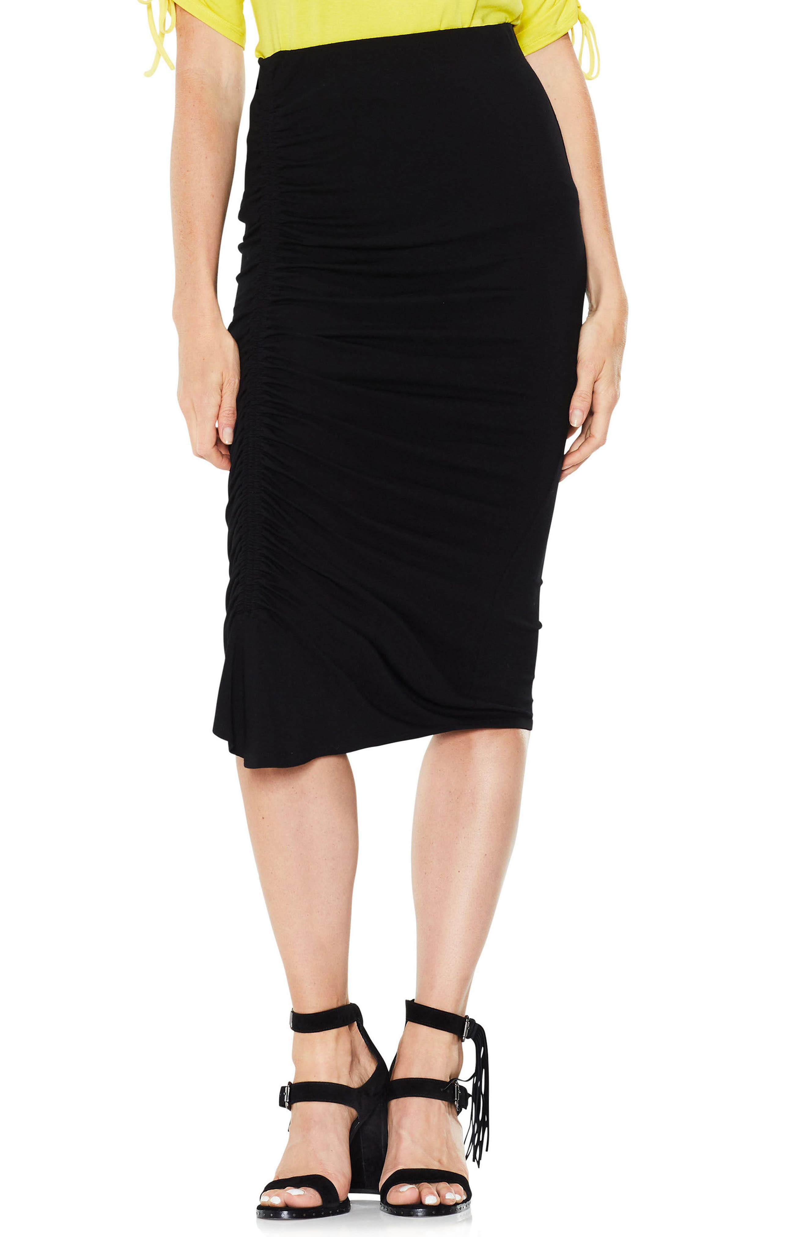 Side Ruched Pencil Skirt,                         Main,                         color, Rich Black