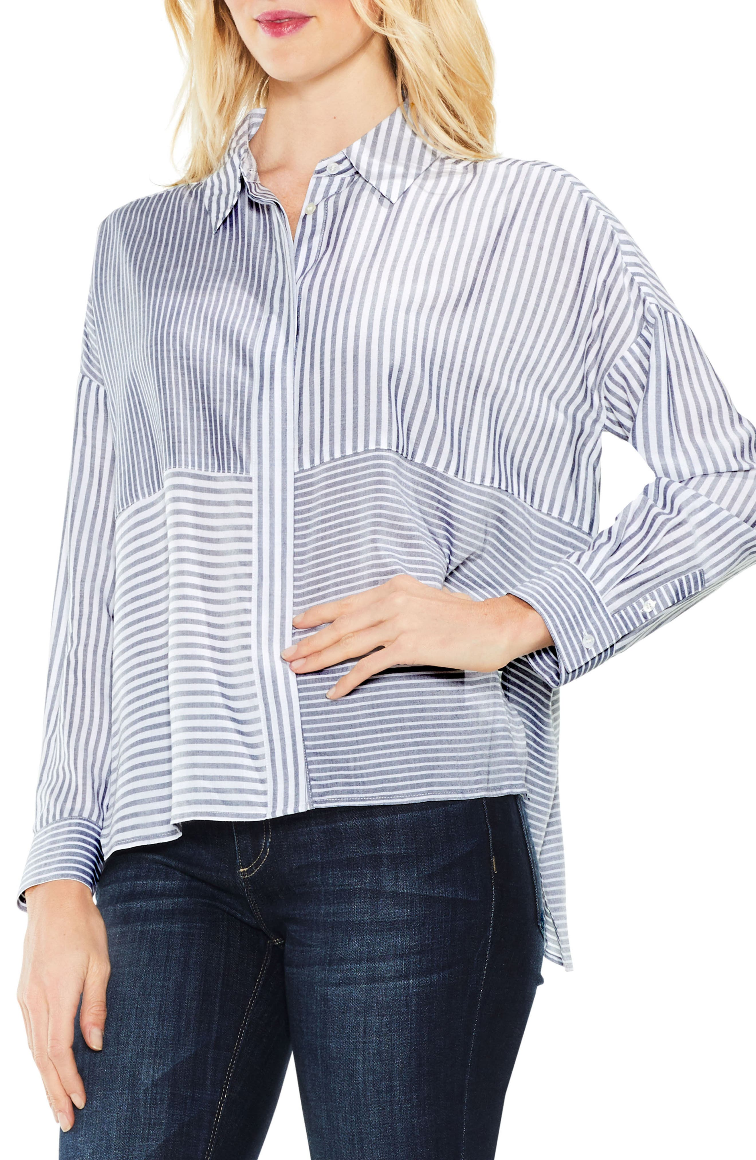 Two by Vince Camuto Mix Stripe Button Down Shirt,                         Main,                         color, Blue Night
