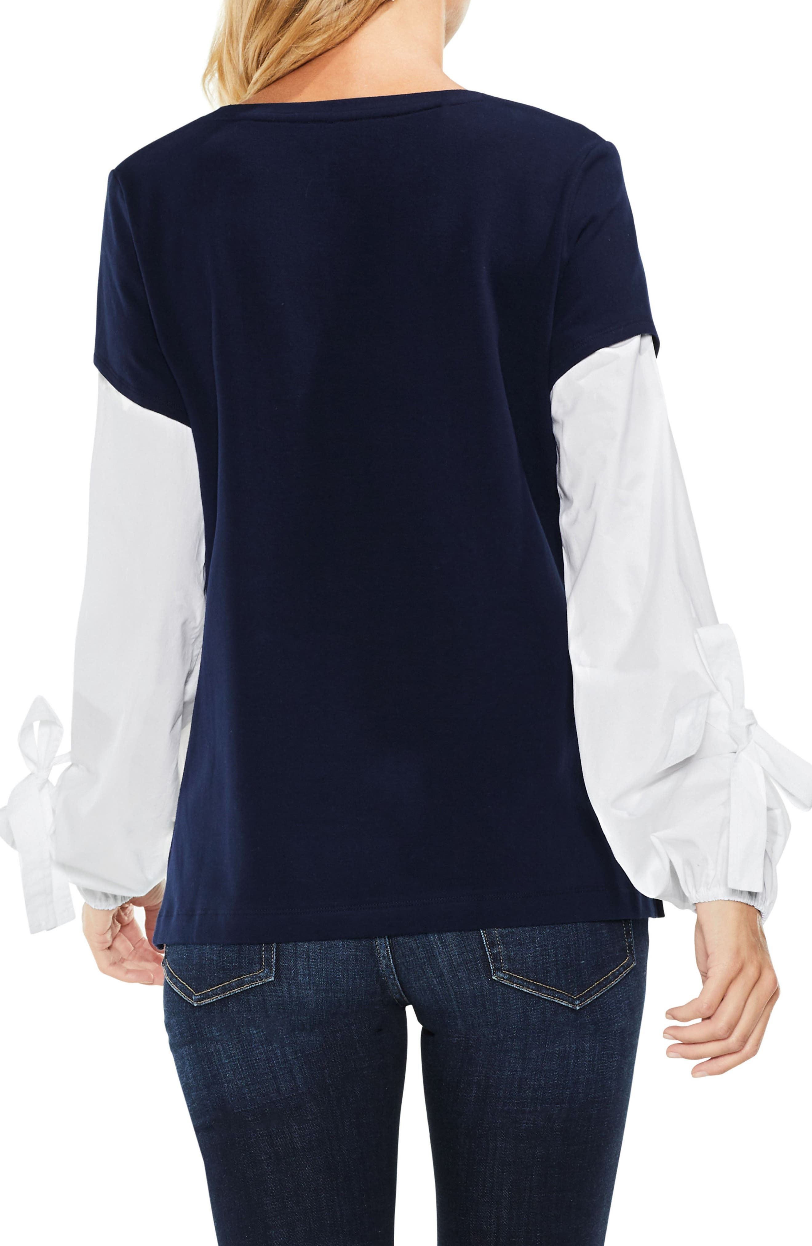 Alternate Image 4  - Two by Vince Camuto Bubble Sleeve Mix Media Top (Regular & Petite)