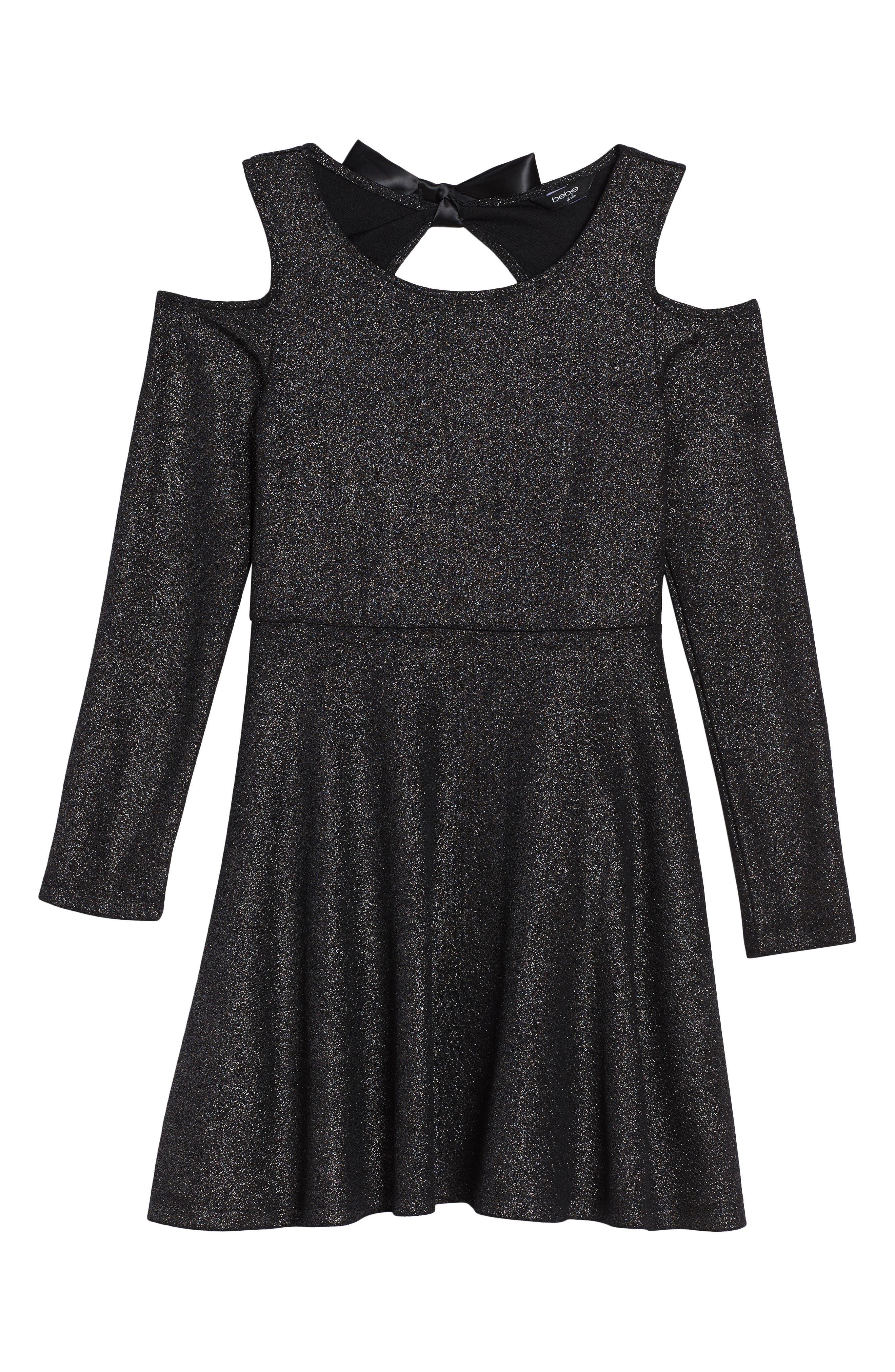 Main Image - bebe Sparkle Knit Cold Shoulder Dress (Big Girls)