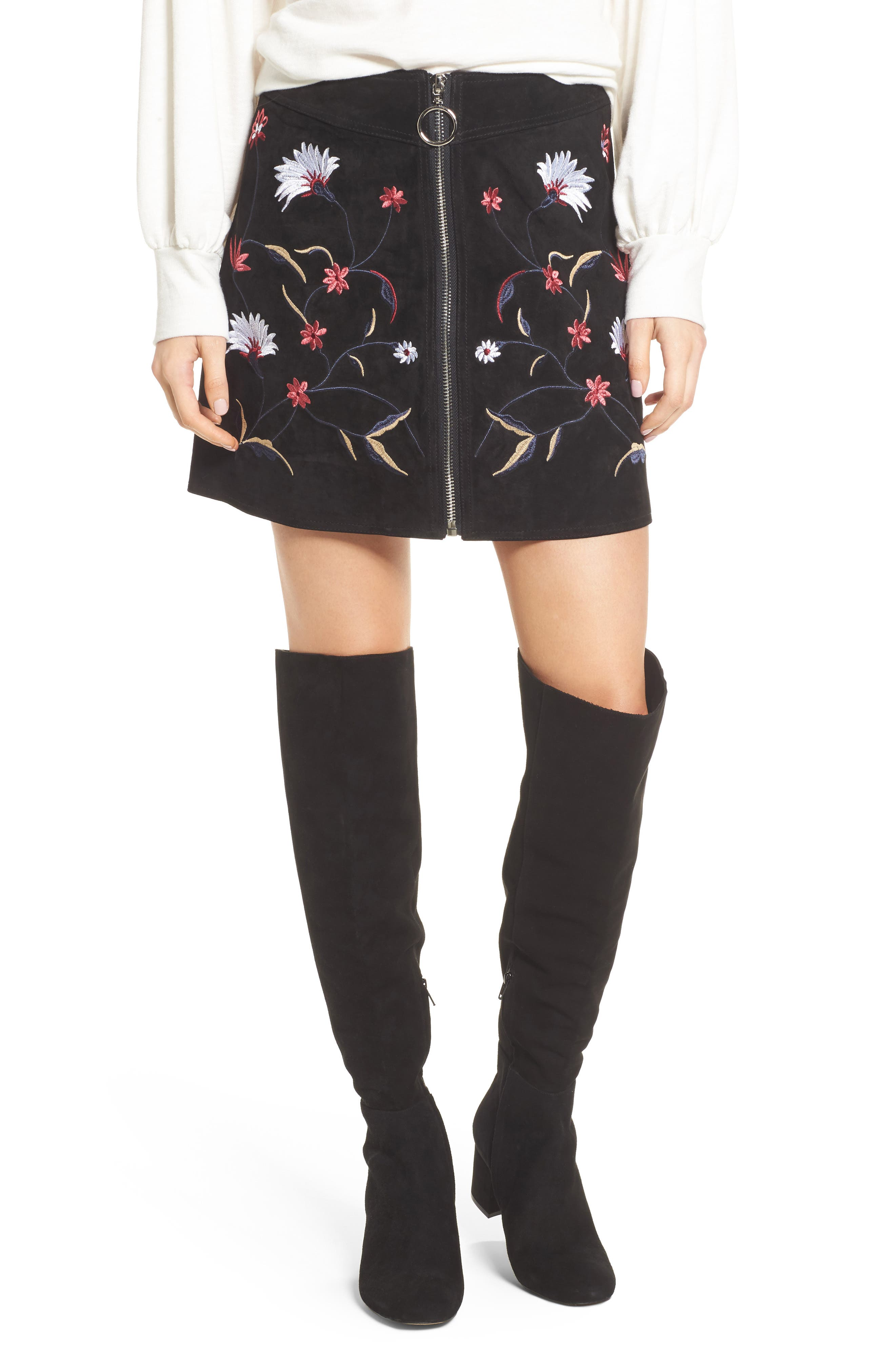 Embroidered Suede Skirt,                             Main thumbnail 1, color,                             Black