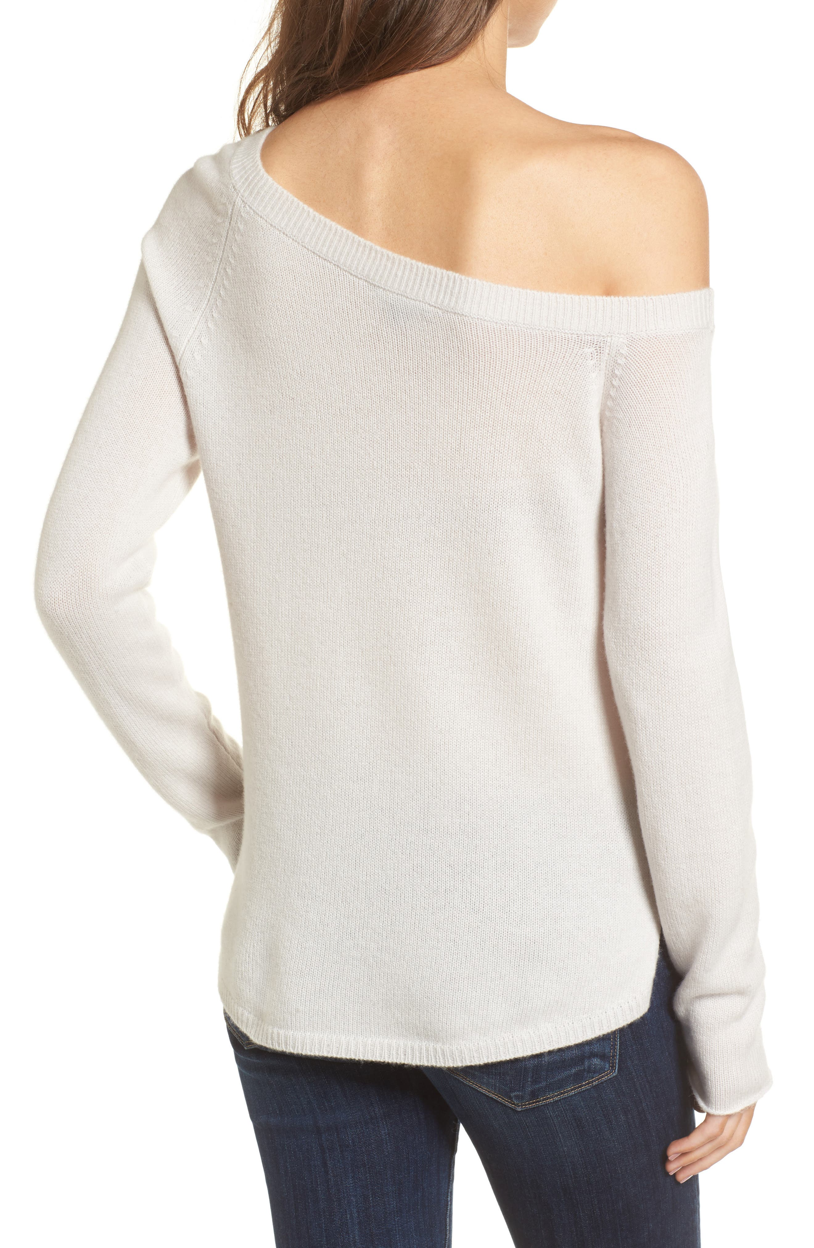 Off the Shoulder Cashmere Sweater,                             Alternate thumbnail 2, color,                             Talc