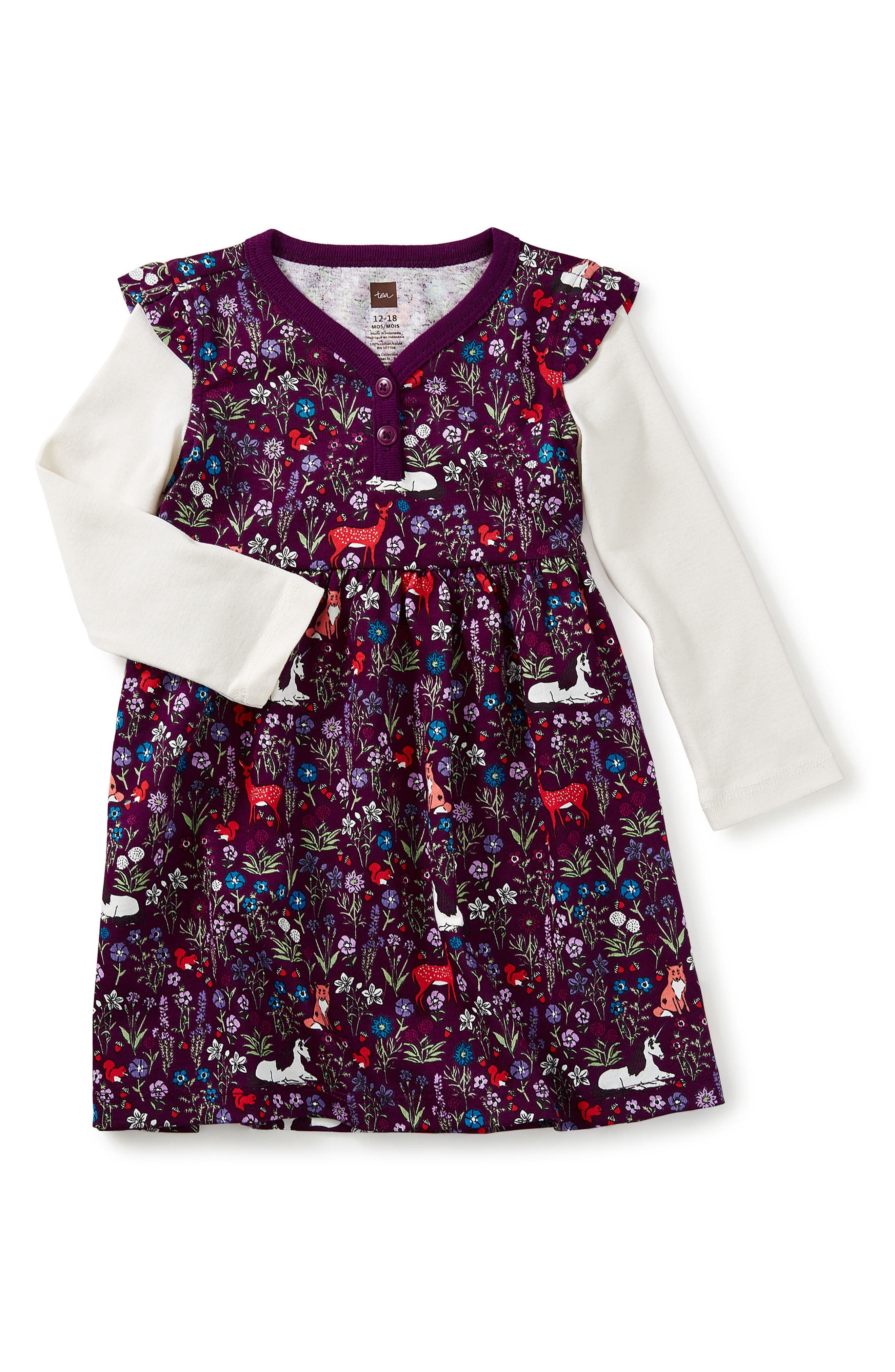 Woodland Layered Henley Dress,                         Main,                         color, Cosmic Berry