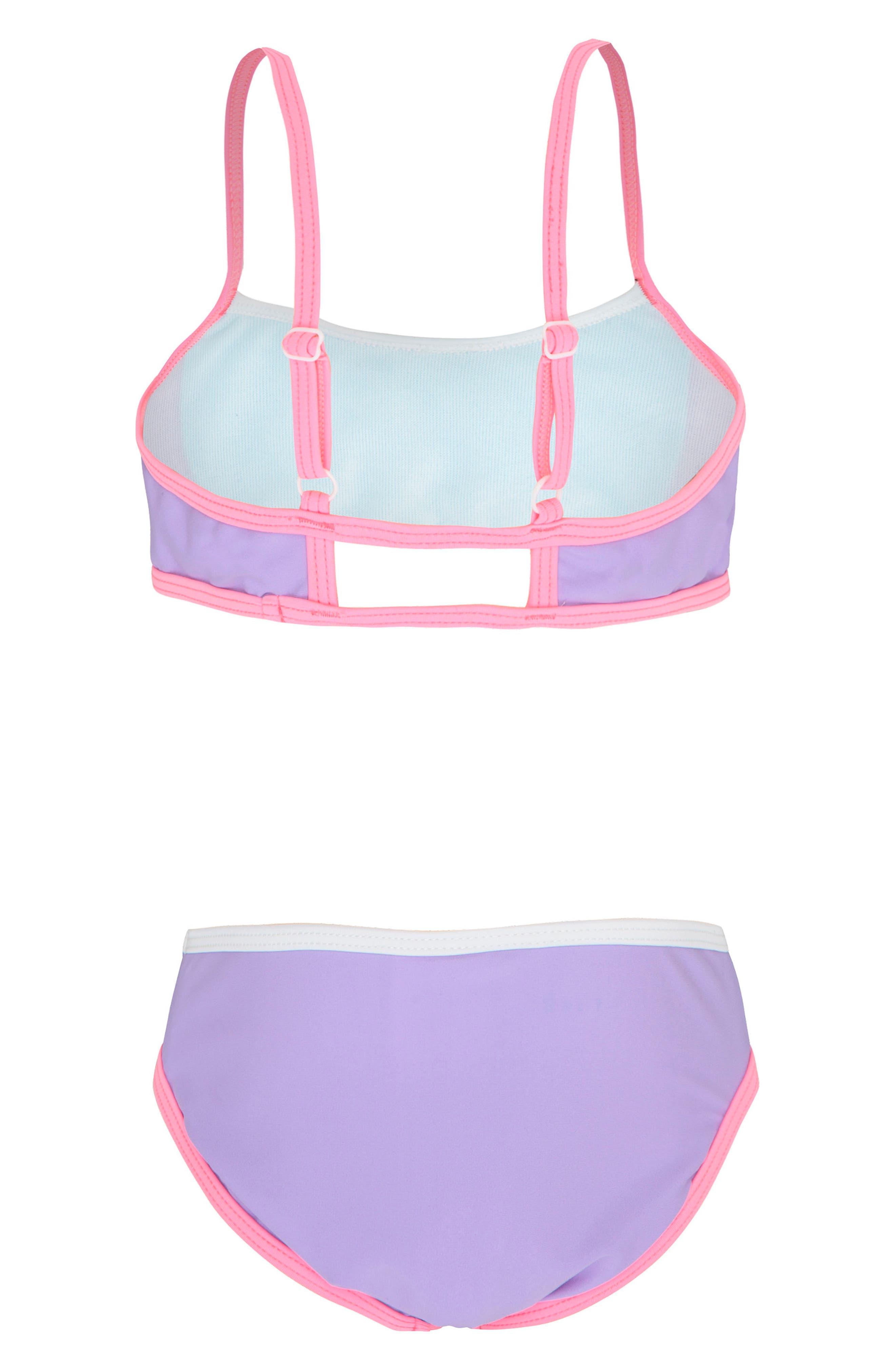 Colorblock Two-Piece Swimsuit,                             Alternate thumbnail 2, color,                             Sherbert Colour Blocked