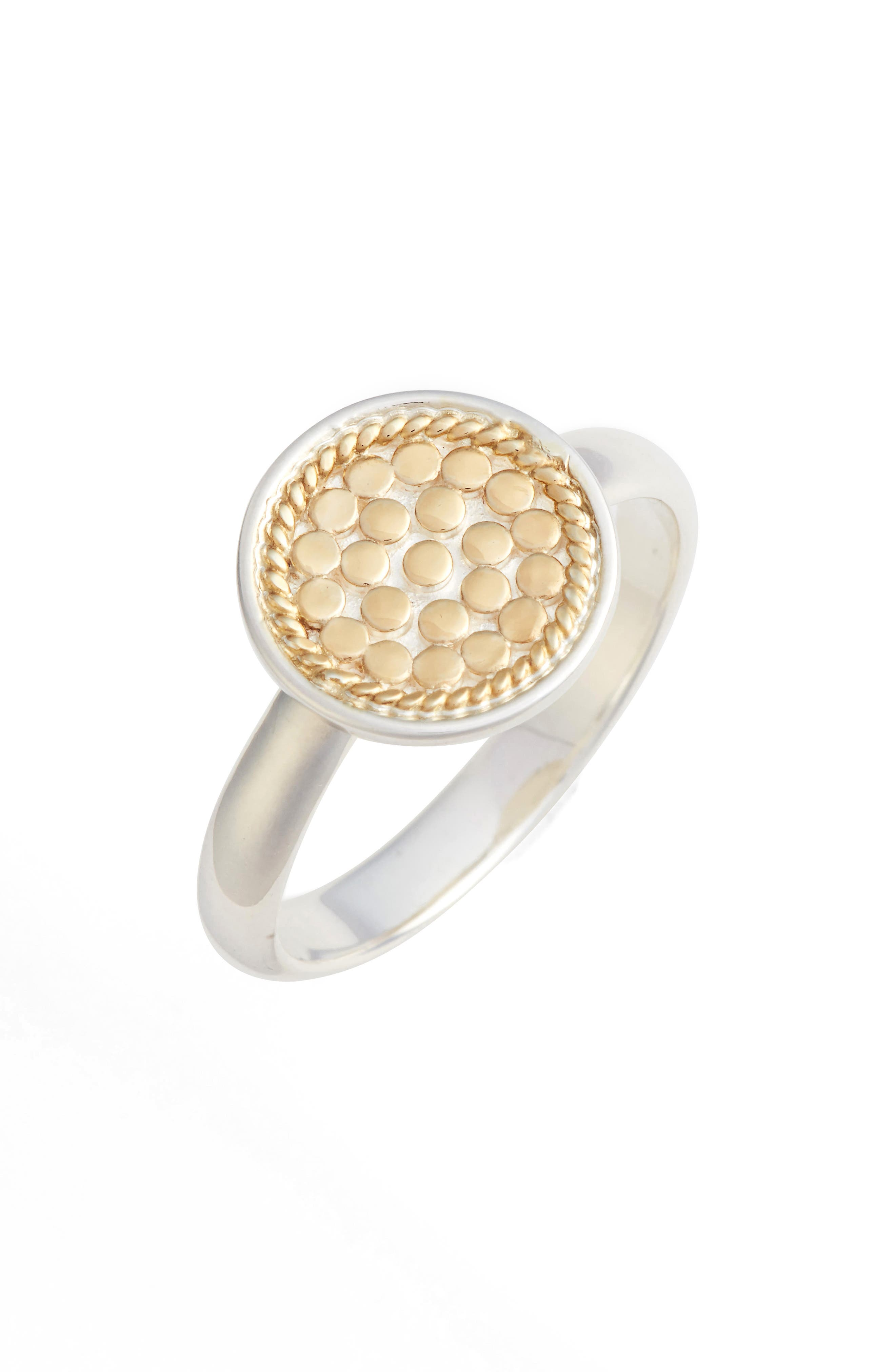 Two-Tone Disc Ring,                             Main thumbnail 1, color,                             Gold/ Silver