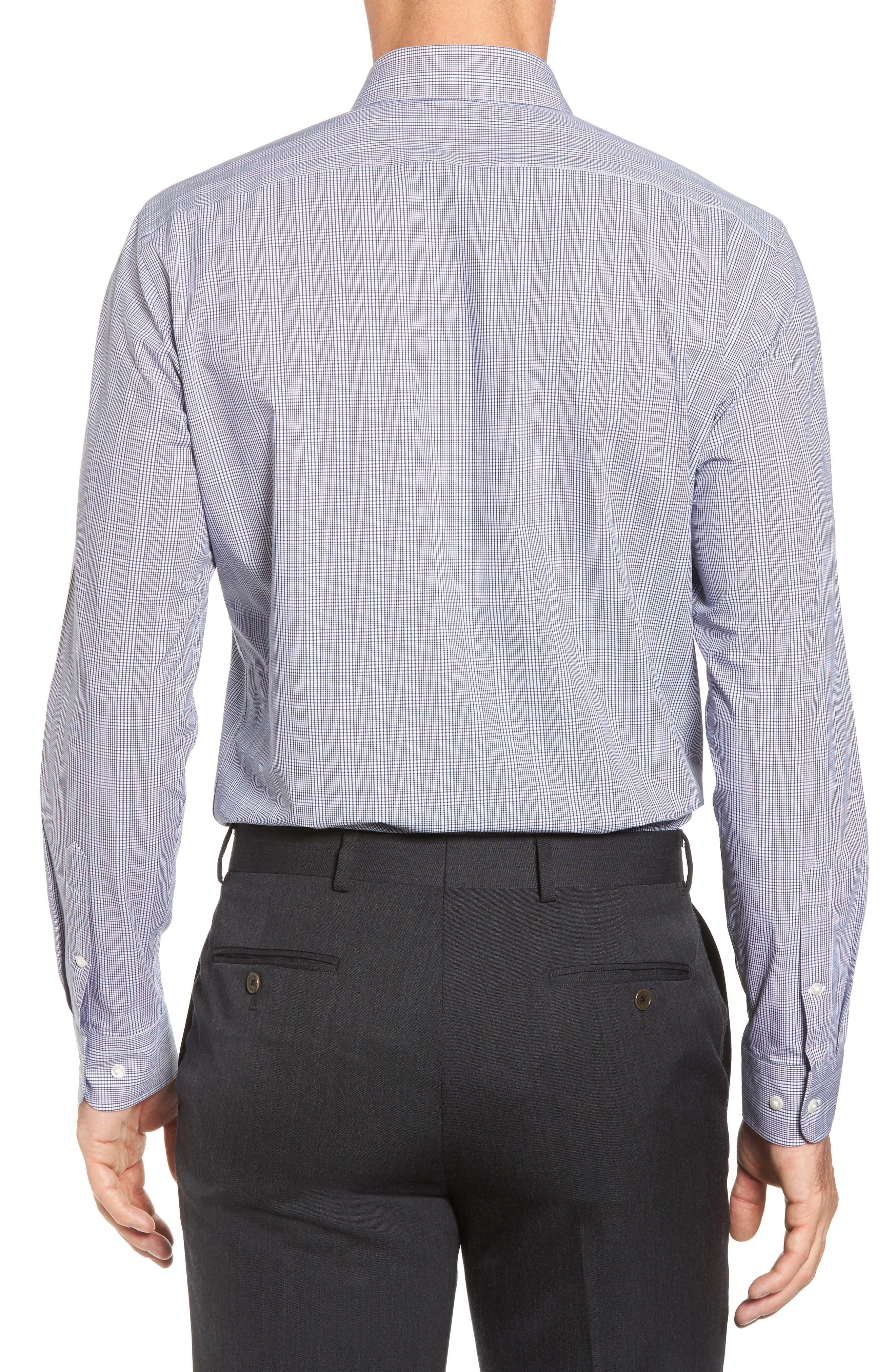 Tech-Smart Trim Fit Stretch Plaid Dress Shirt,                             Alternate thumbnail 2, color,                             Blue Twilight