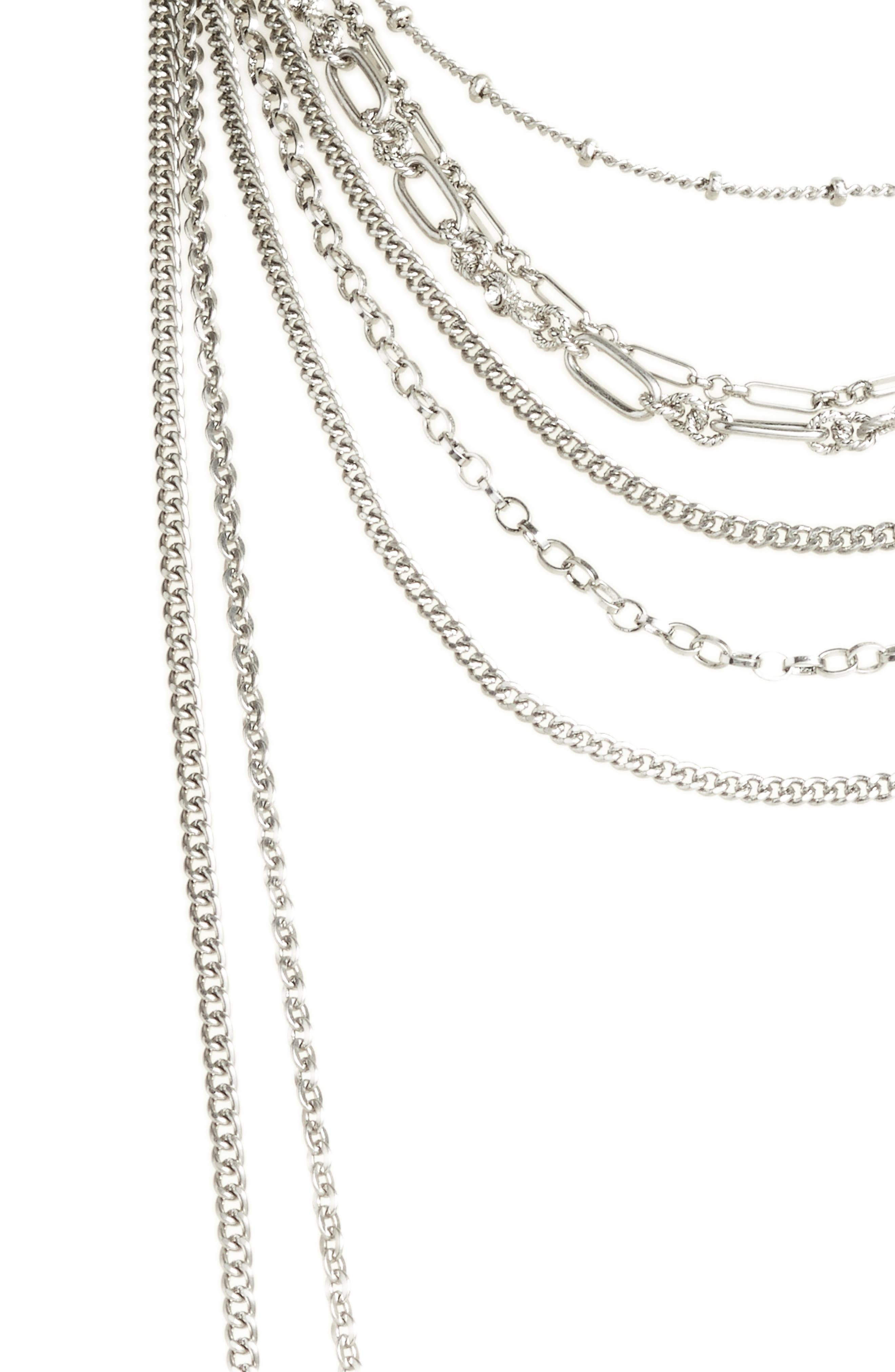 Multistrand Textured Chain Necklace,                             Alternate thumbnail 2, color,                             Clear- Rhodium