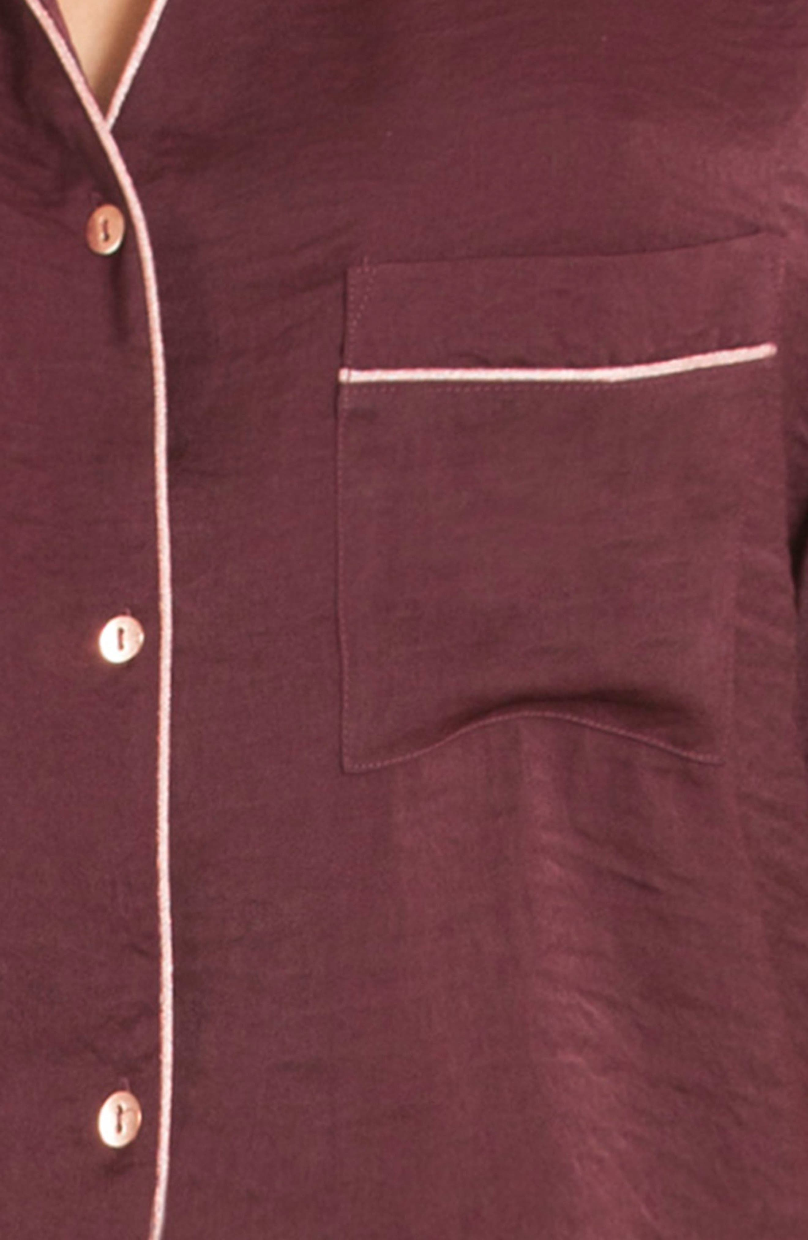 Crop Satin Pajama Top,                             Alternate thumbnail 4, color,                             Scarlet